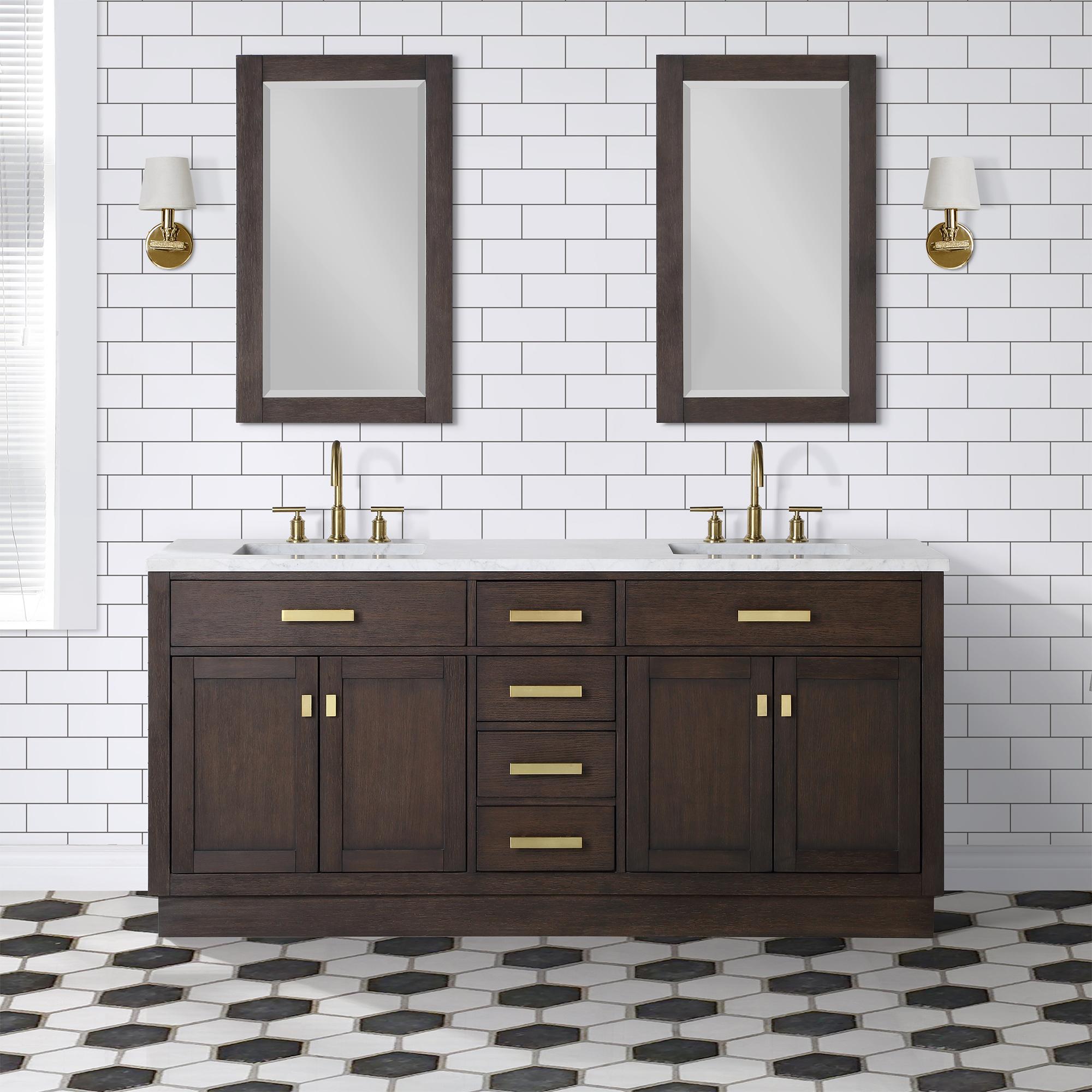 "72"" Brown Oak Double Bathroom Vanity with Seamless Italian Carrara White Marble Top"