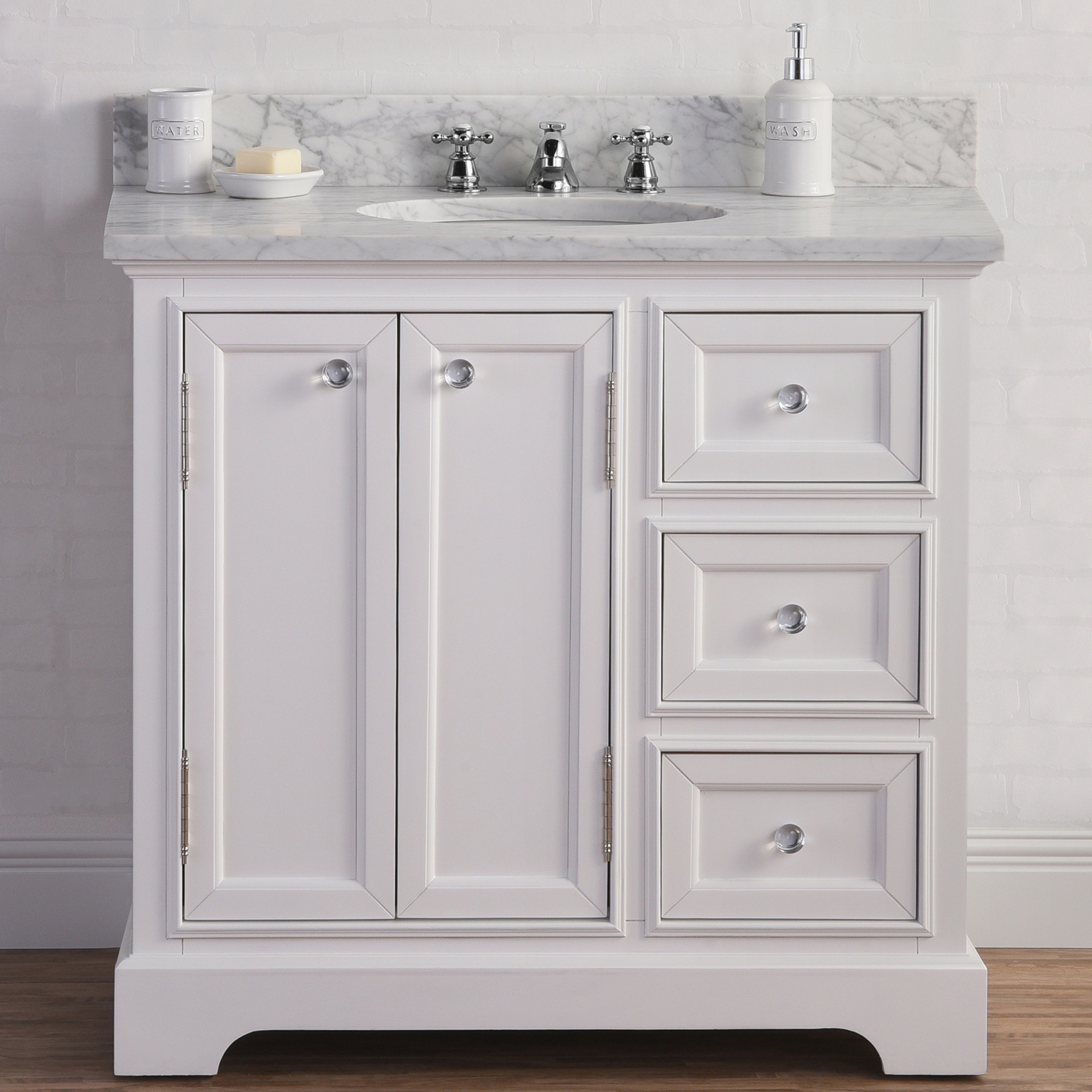 "36"" Wide Pure White Single Sink Carrara Marble Bathroom Vanity"