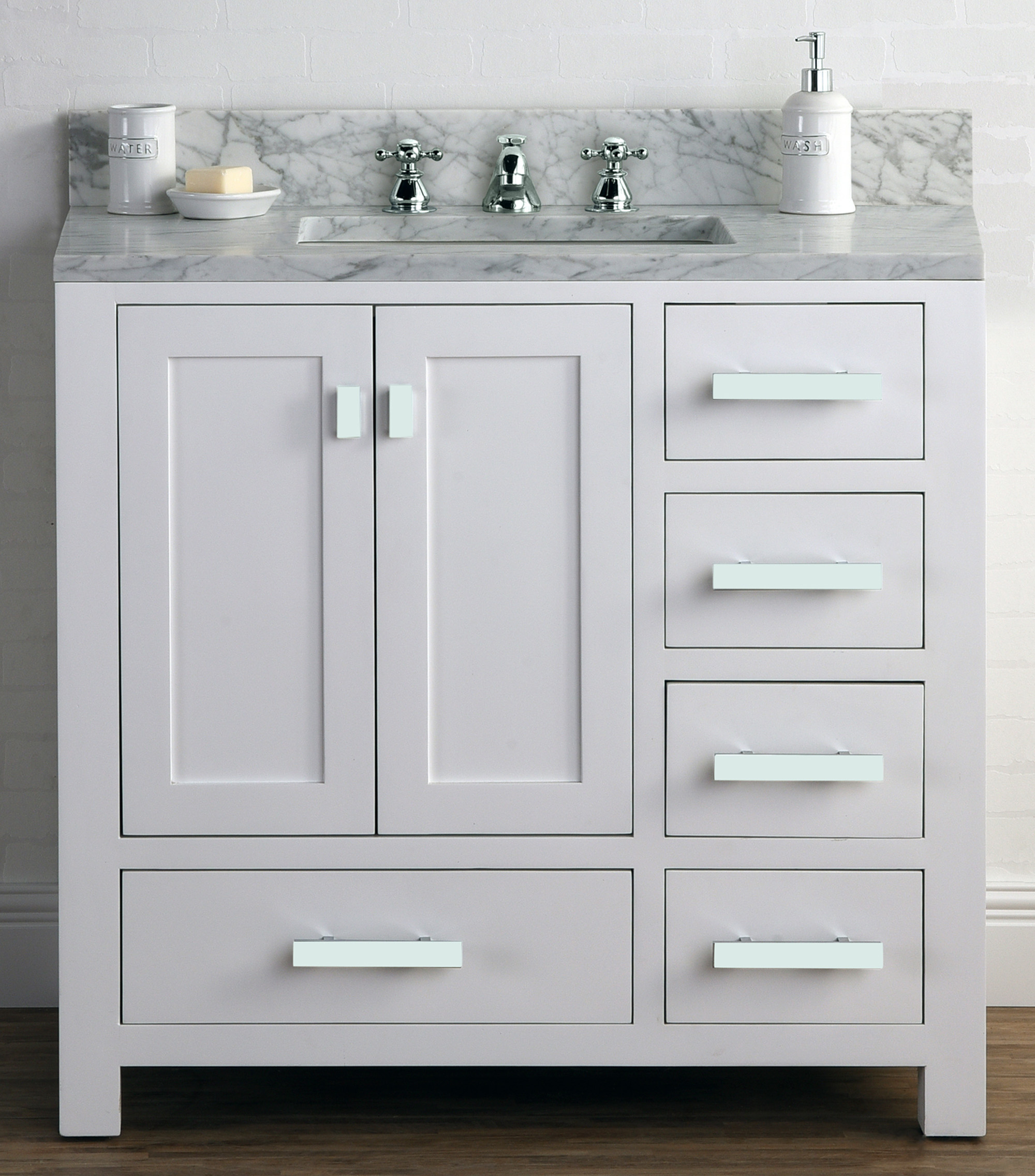 "36"" Pure White Single Sink Bathroom Vanity with White Carrara Marble Top"