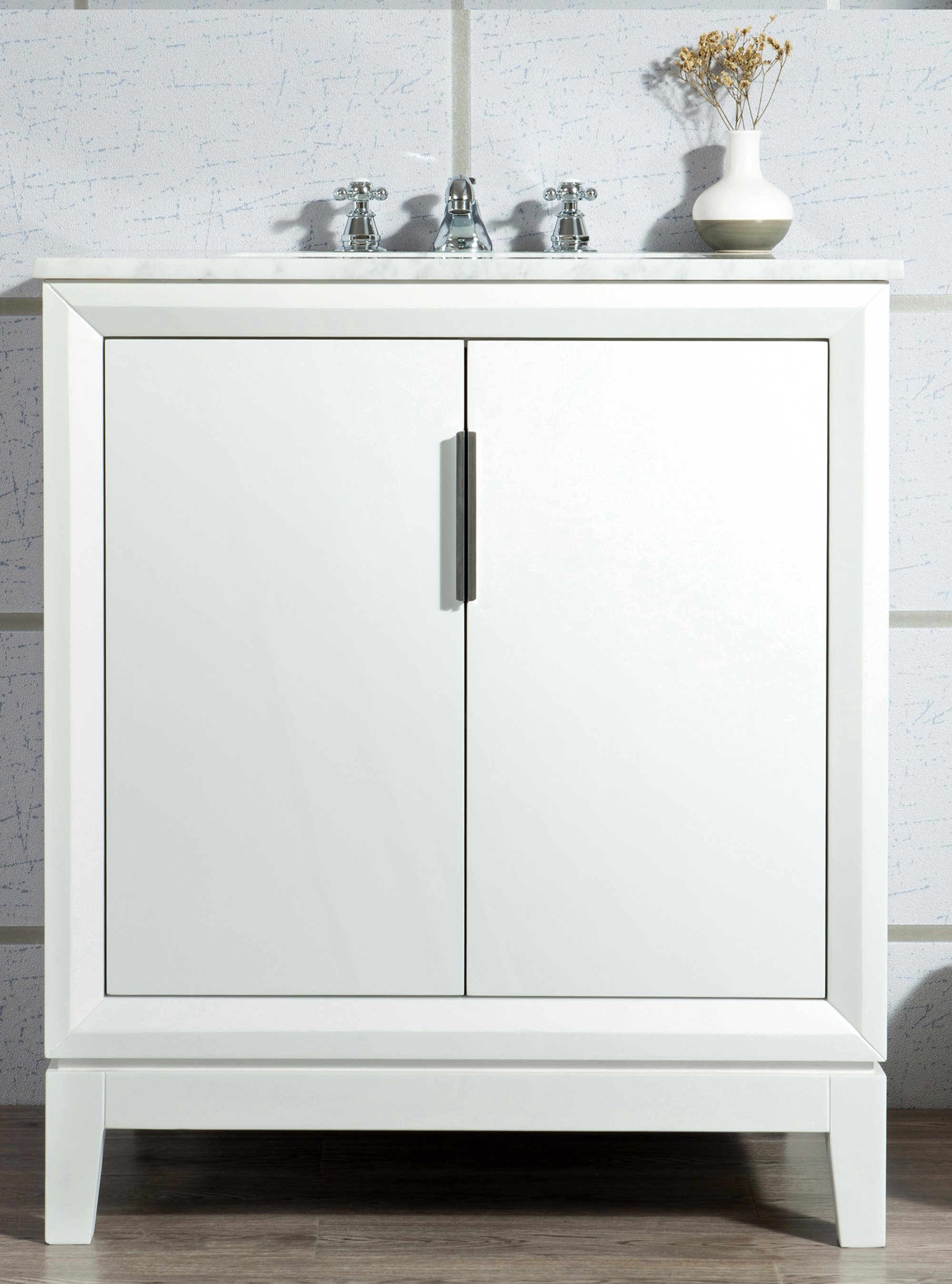 "30"" Single Sink Carrara White Marble Vanity In Pure White Finish"