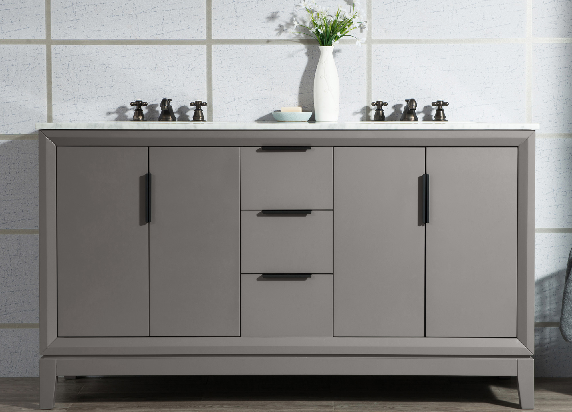 "60"" Double Sink Carrara White Marble Vanity In Cashmere Grey Finish"
