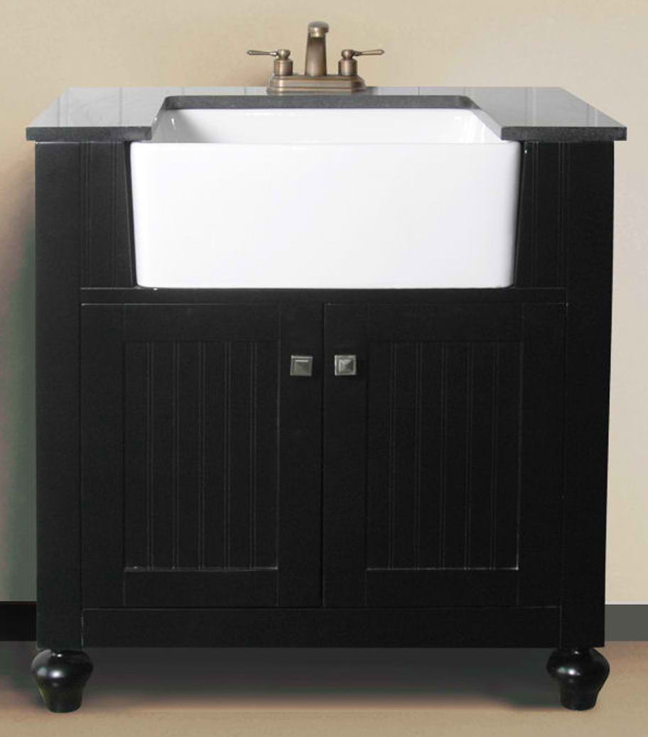 "30"" Espresso Finish Single Sink Vanity Cabinet with Black Granite Top"