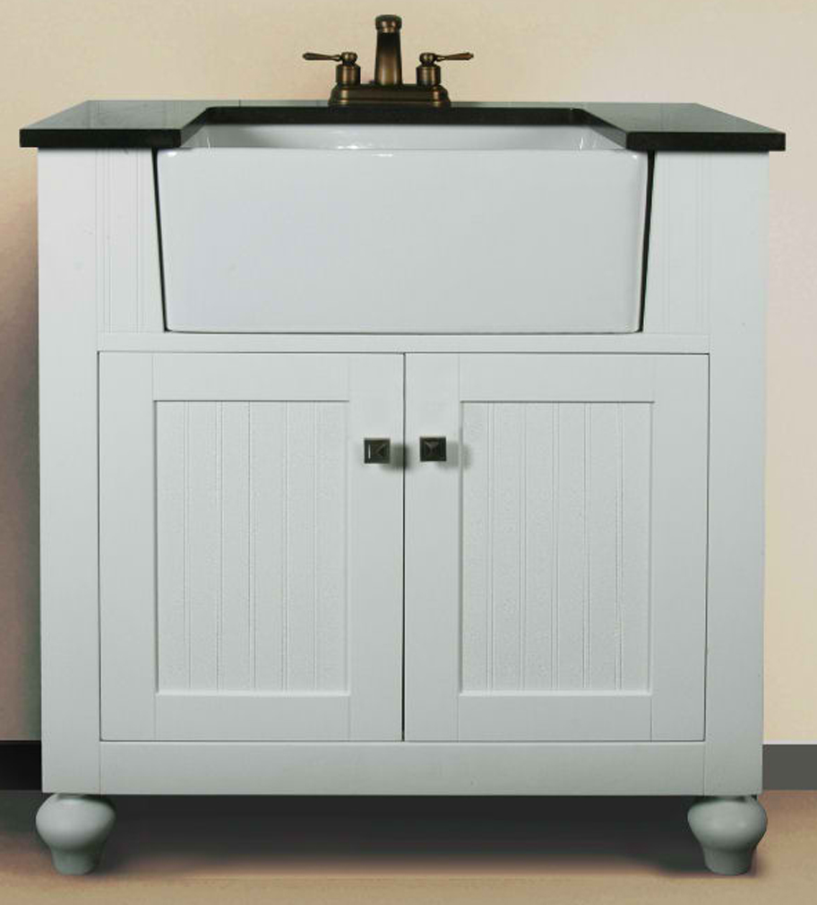 "30"" Matte White Finish Single Sink Vanity Cabinet with Black Granite Top"