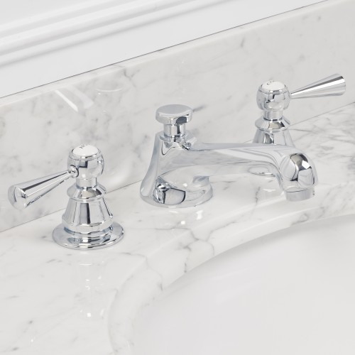 American 20th Century Classic Widespread Lavatory Faucets With Pop-Up Drain in Chrome Finish With Torch Lever Handles, Hot And Cold Labels Included