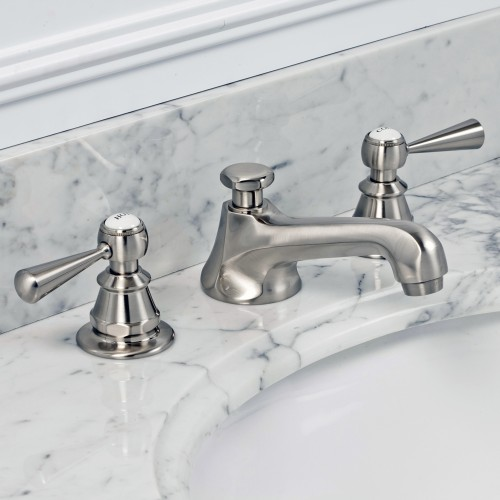 American 20th Century Classic Widespread Lavatory Faucets With Pop-Up Drain in Brushed Nickel Finish With Torch Lever Handles, Hot And Cold Labels Included