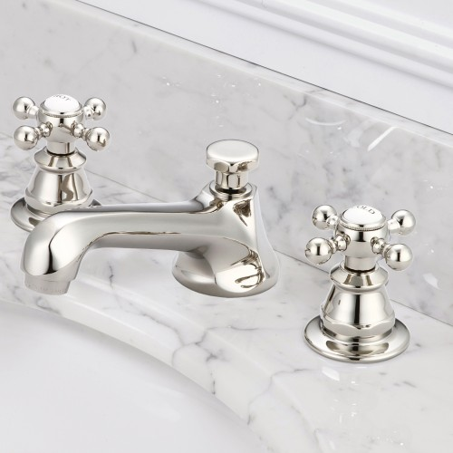 American 20th Century Classic Widespread Lavatory Faucets With Pop-Up Drain in Polished Nickel (PVD) Finish With Metal Cross Handles, Hot And Cold Labels Included