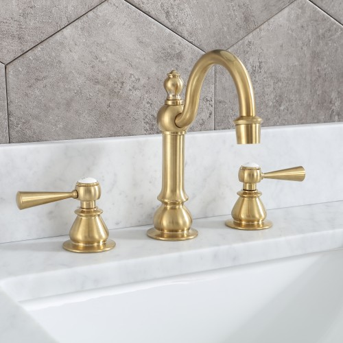 Satin Gold High Arc Torch Lever Handle True Brass Lavatory Faucet
