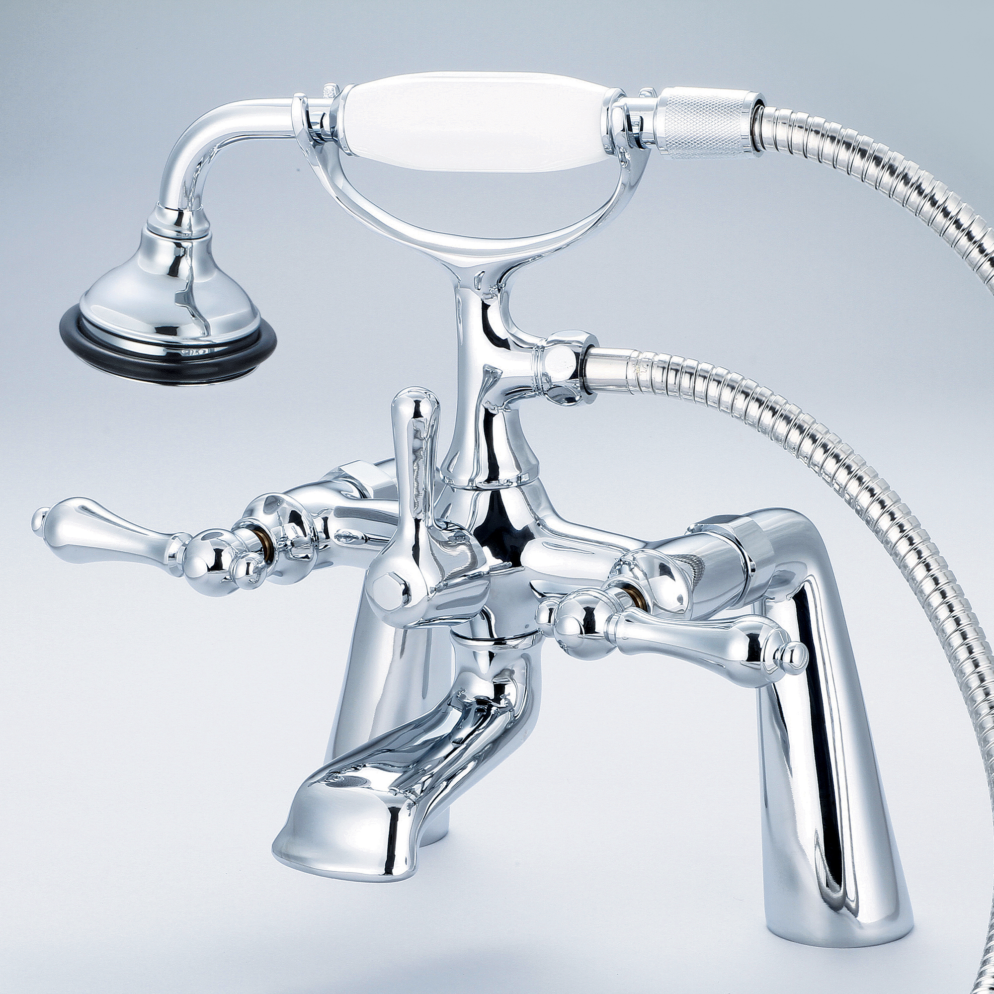 Vintage Classic 7 Inch Spread Deck Mount Tub Faucet With Handheld Shower in Chrome Finish With Metal Lever Handles Without Labels