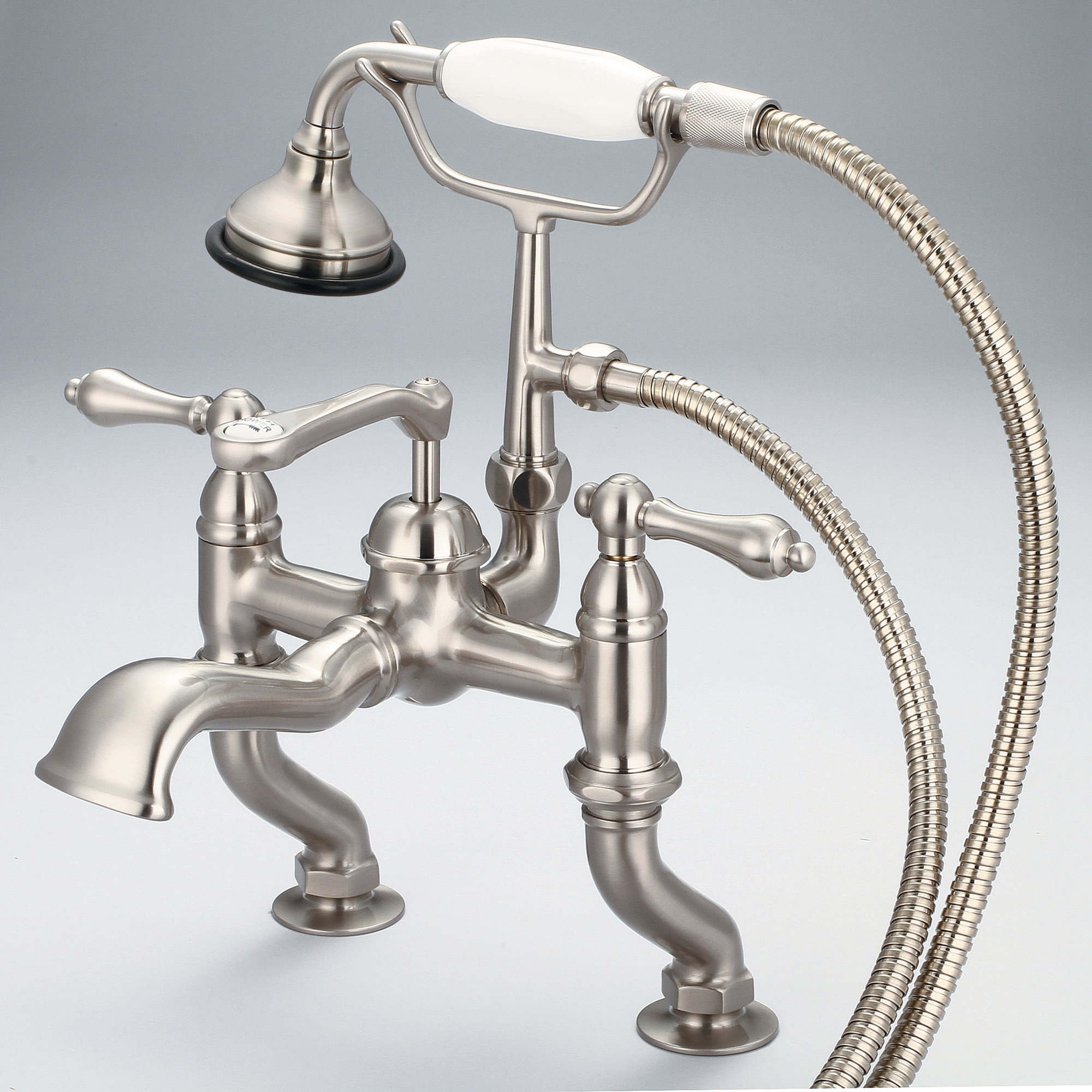Vintage Classic Adjustable Center Deck Mount Tub Faucet With Handheld Shower in Brushed Nickel Finish With Metal Lever Handles Without Labels