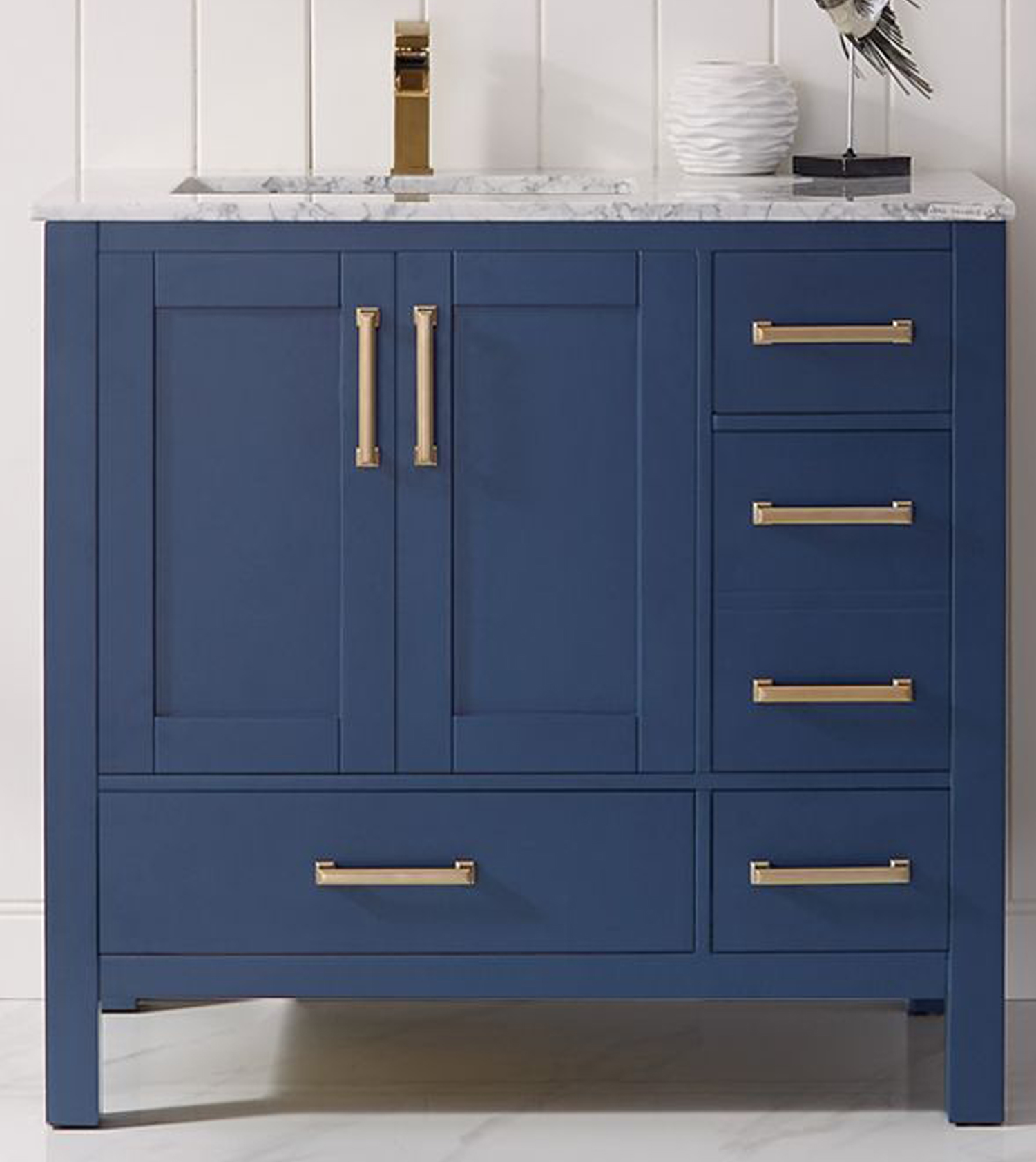 """36"""" Single Vanity in Royal Blue and Composite Carrara White Stone Countertop Without Mirror"""