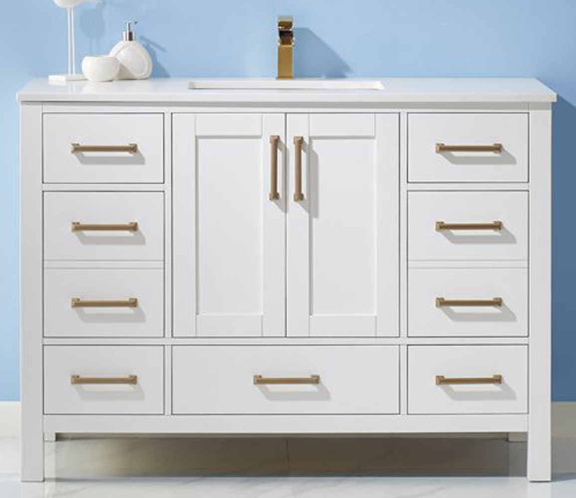 """48"""" Single Vanity White Finish and Composite Carrara White Stone Countertop Without Mirror"""