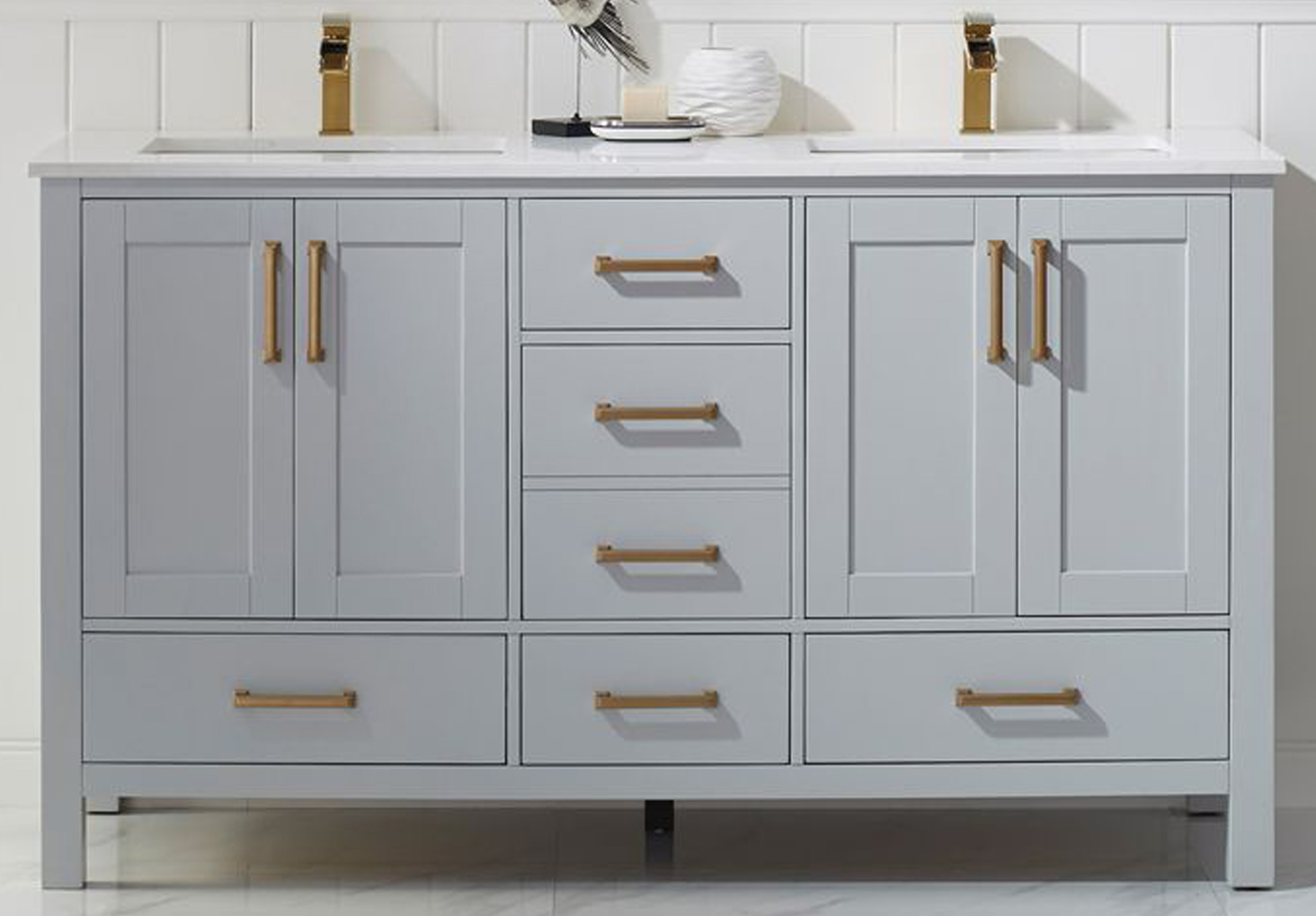 """60"""" Double Vanity in Paris Grey and Composite Carrara White Stone Countertop Without Mirror"""