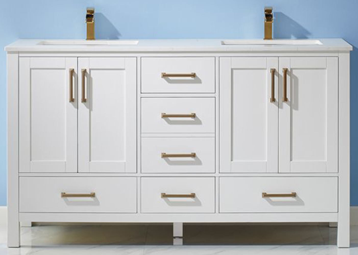 """60"""" Double Vanity White Finish and Composite Carrara White Stone Countertop Without Mirror"""
