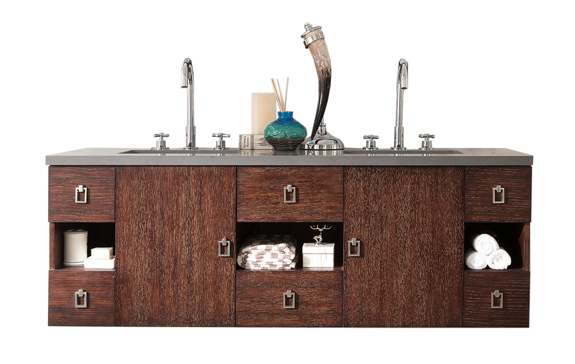 "James Martin Sonoma Collection 60"" Double Vanity, Coffee Oak with Top Options"