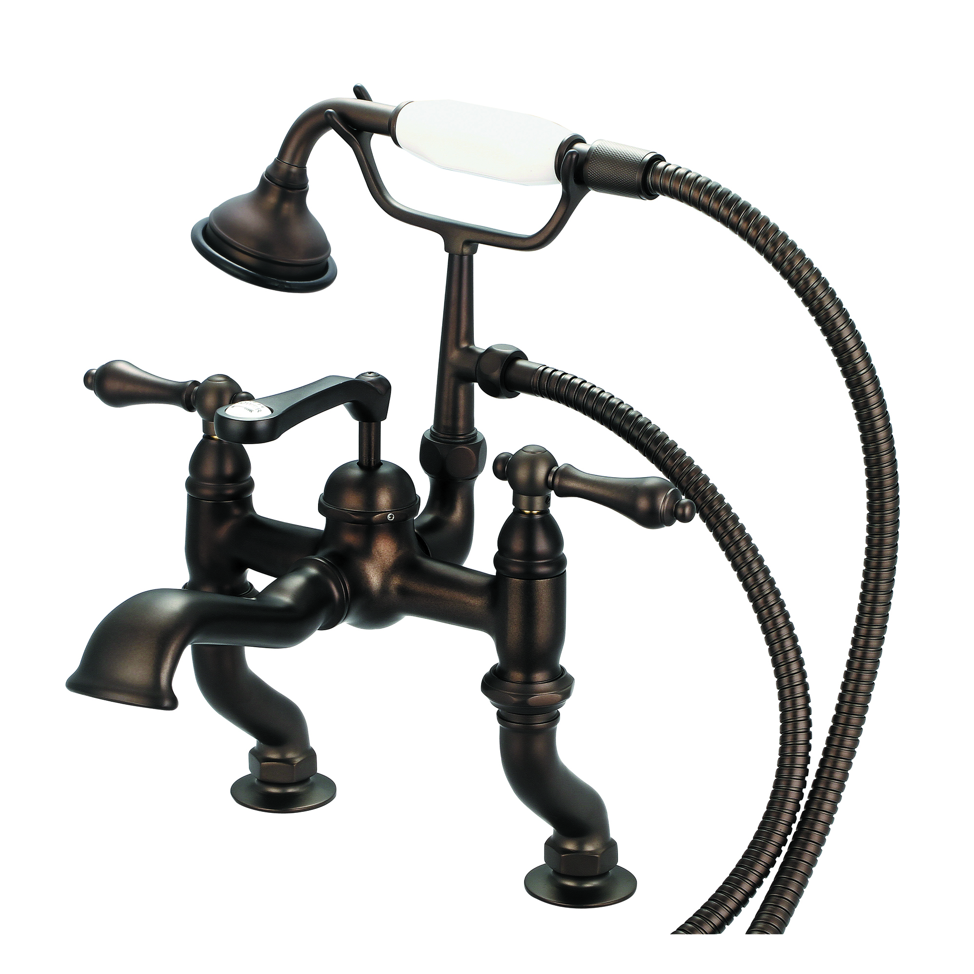 Vintage Classic Adjustable Center Deck Mount Tub Faucet With Handheld Shower in Oil-rubbed Bronze Finish Finish With Metal Lever Handles Without Labels