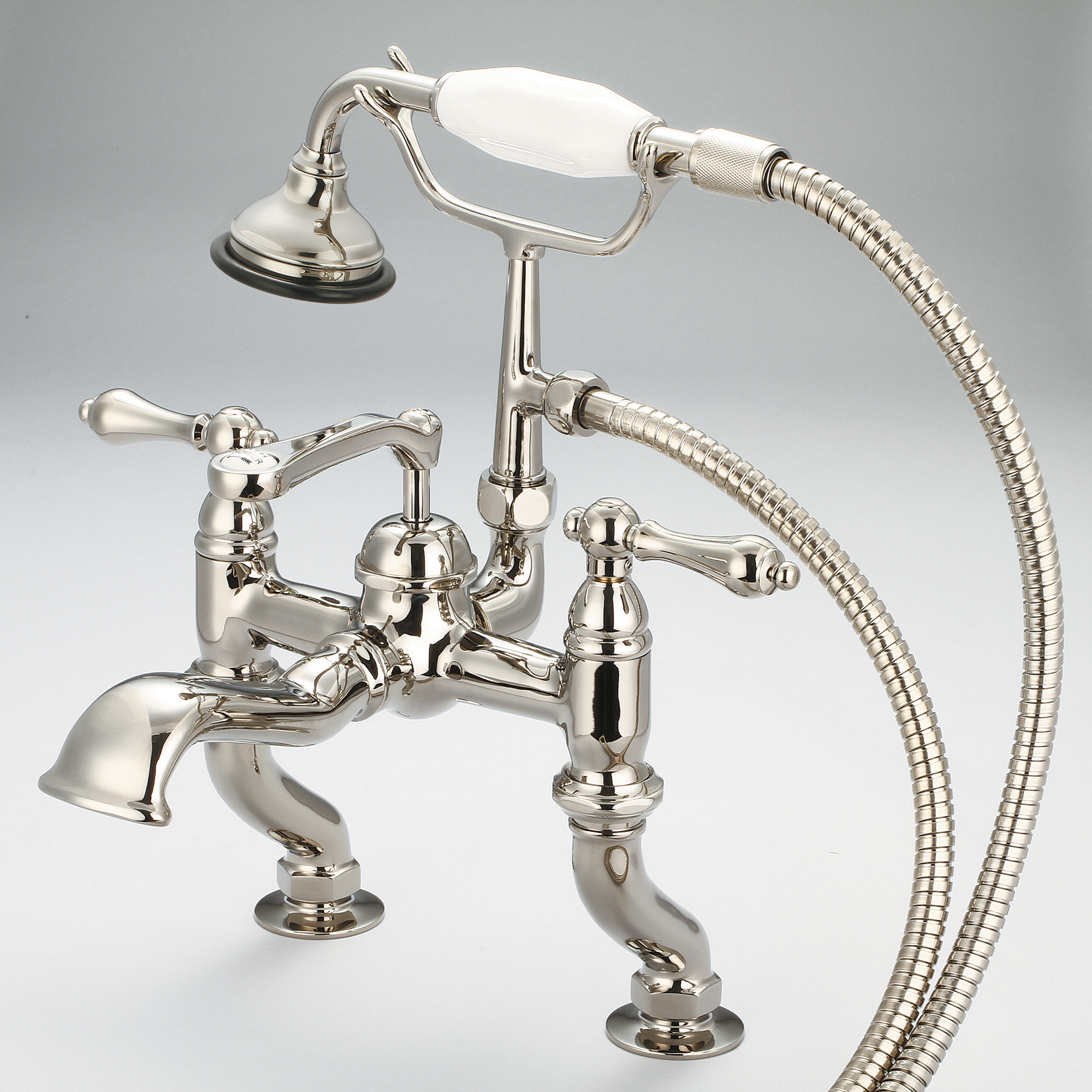 Vintage Classic Adjustable Center Deck Mount Tub Faucet With Handheld Shower in Polished Nickel (PVD) Finish With Metal Lever Handles Without Labels