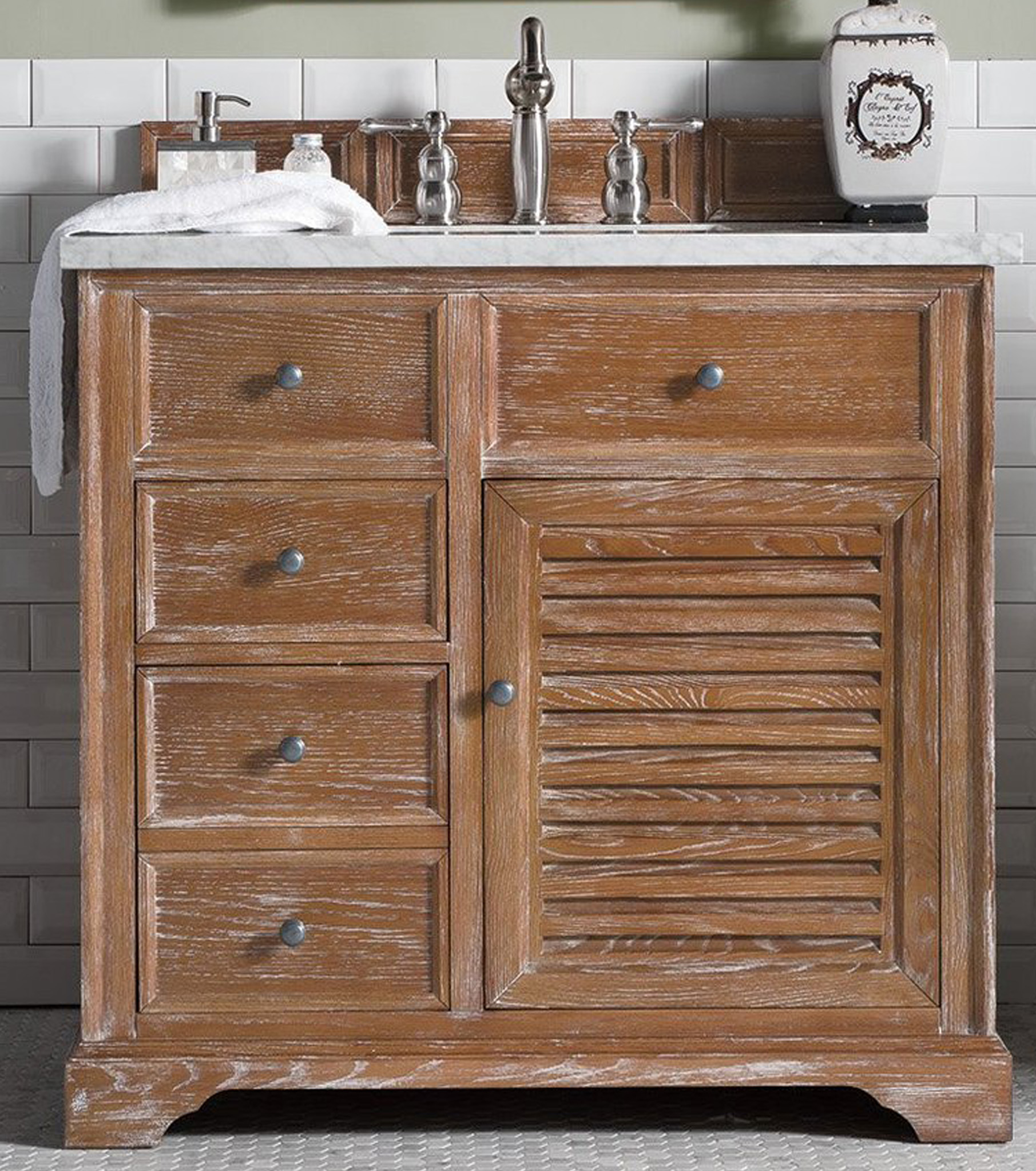 James Martin, Savannah Collection, 36 inch Bathroom Vanity in Driftwood Finish, with Top options