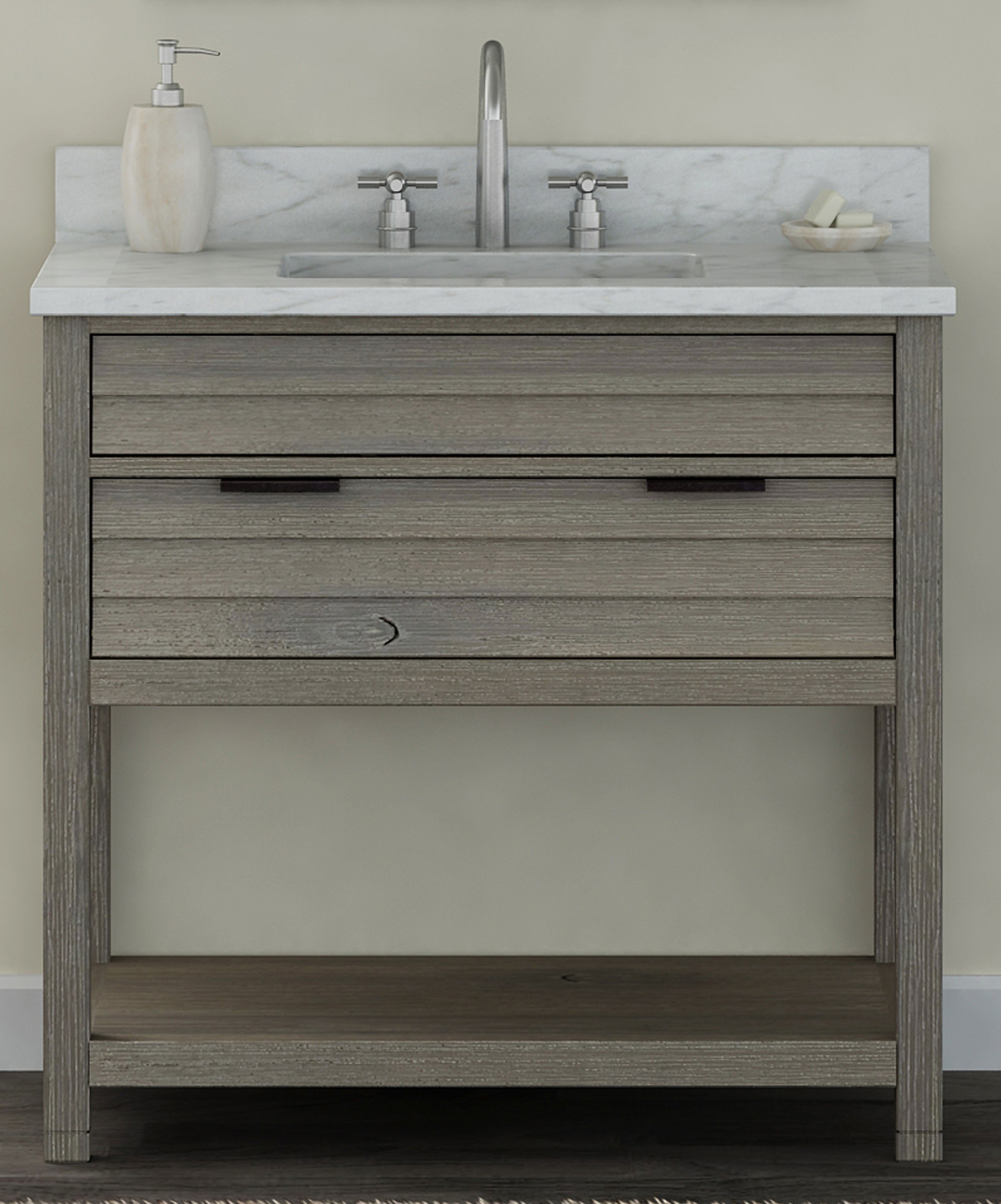 "36"" Bathroom Vanity Base, Rustic Taupe Finish with Countertop Options"