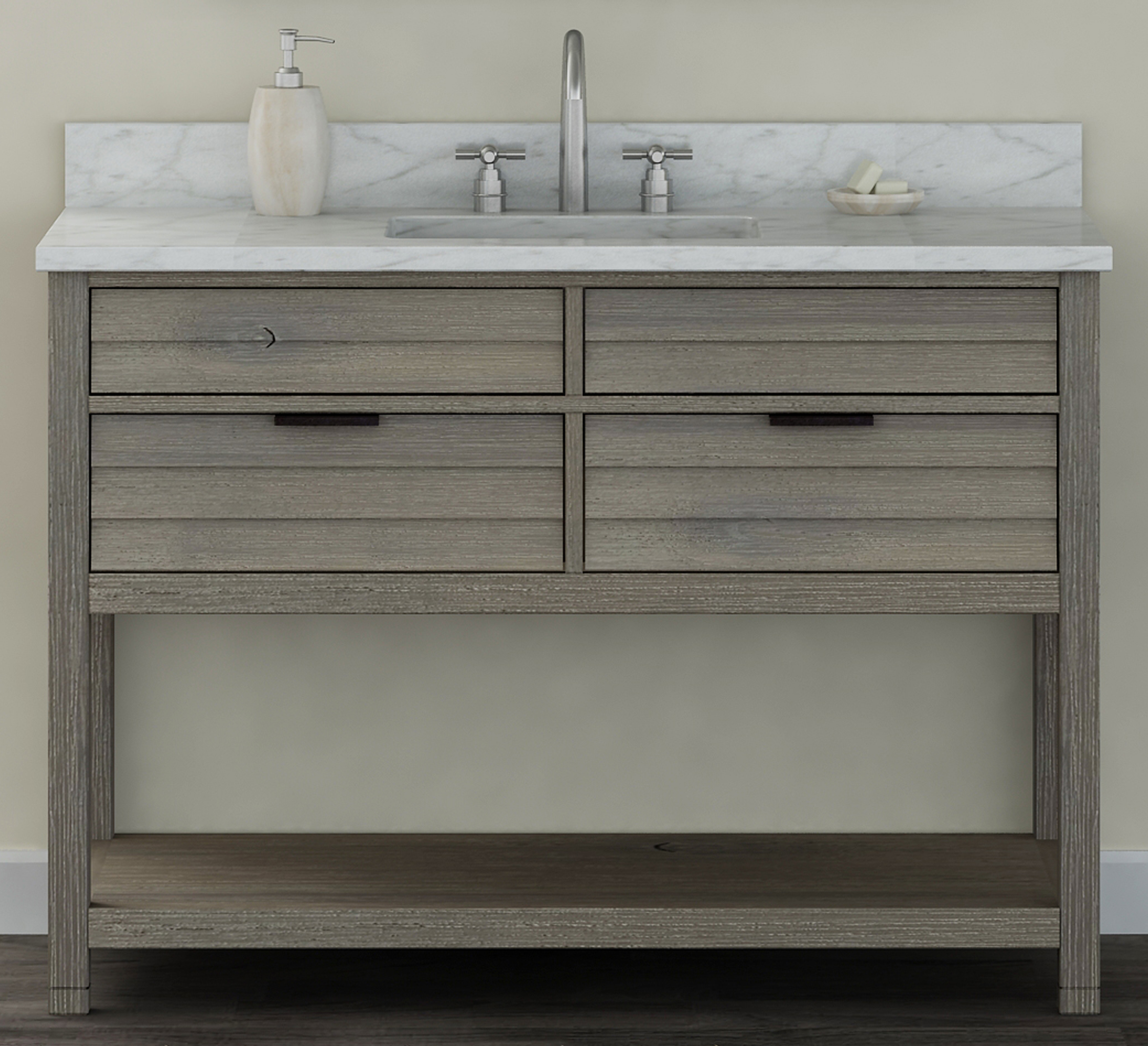 "48"" Bathroom Vanity Base, Rustic Taupe Finish with Countertop Options"