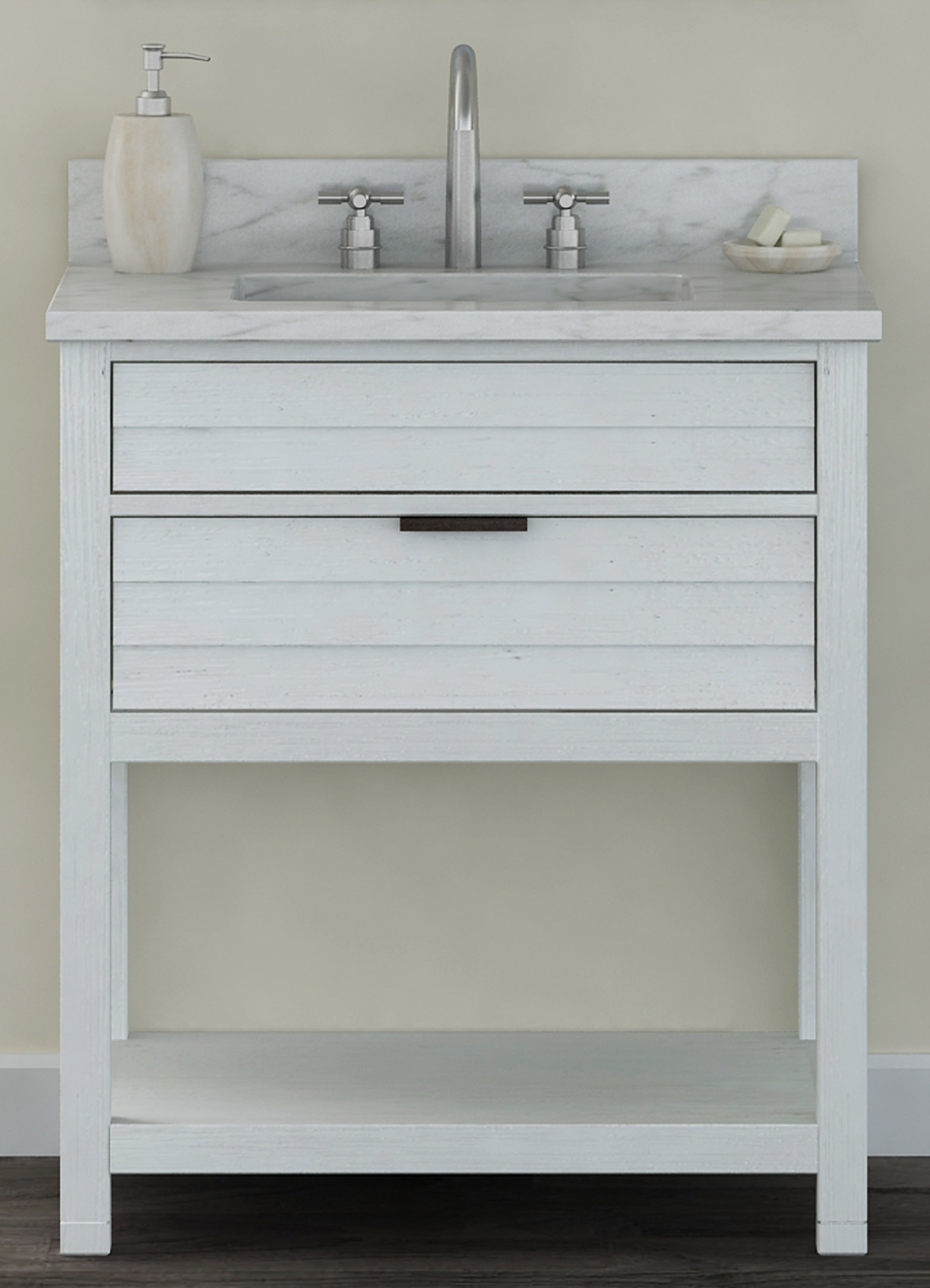 "30"" Bathroom Vanity Base, White-Wash Finish with Countertop Options"