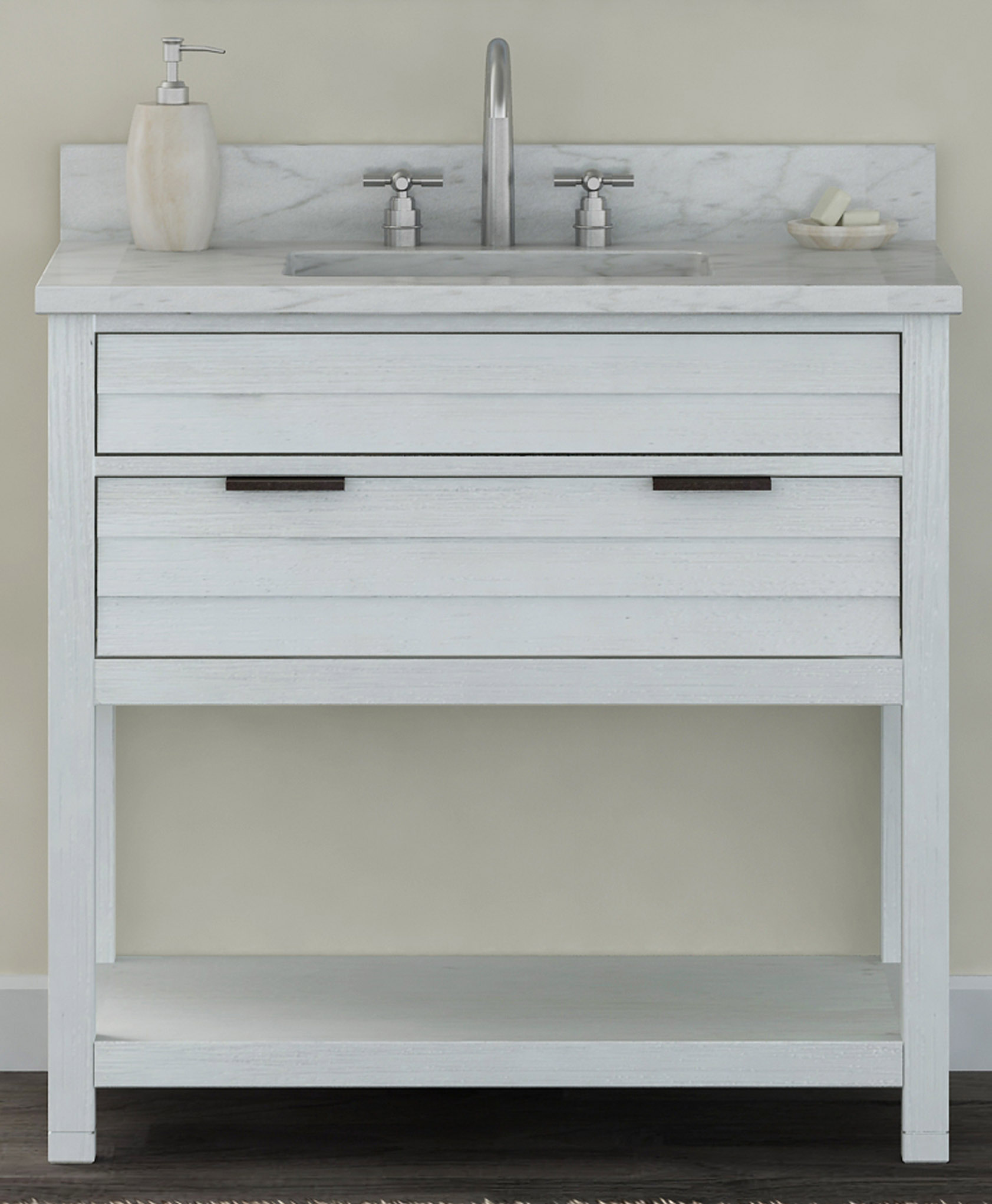 "36"" Bathroom Vanity Base, White-Wash Finish with Countertop Options"