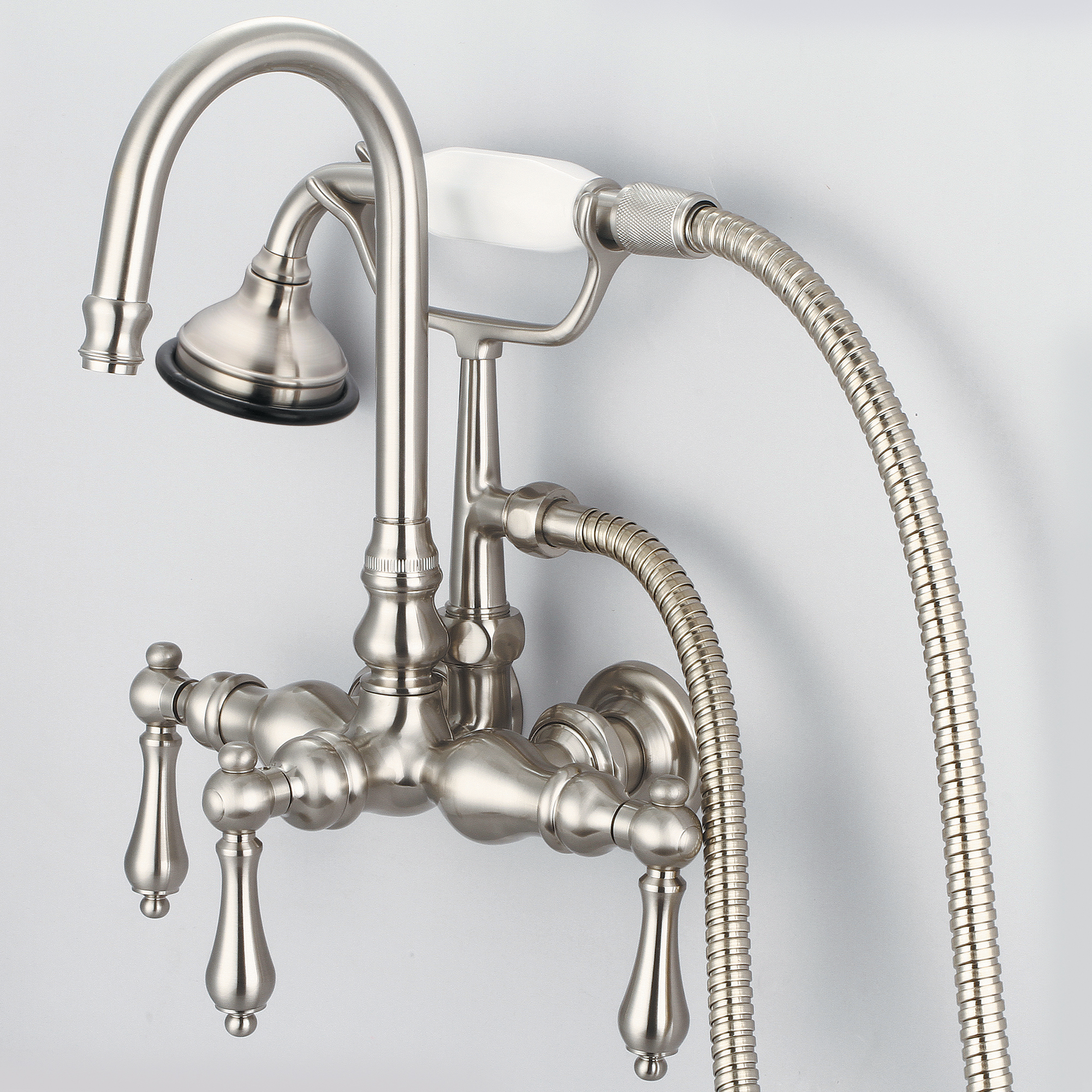 Vintage Classic 3.375 Inch Center Wall Mount Tub Faucet With Gooseneck Spout, Straight Wall Connector & Handheld Shower in Brushed Nickel Finish With Metal Lever Handles Without Labels