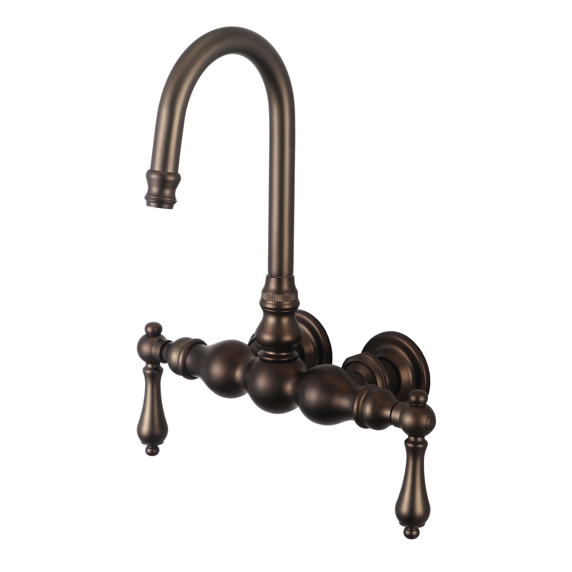 Vintage Classic 3.375 Inch Center Wall Mount Tub Faucet With Gooseneck Spout & Straight Wall Connector in Oil-rubbed Bronze Finish Finish With Metal Lever Handles Without Labels