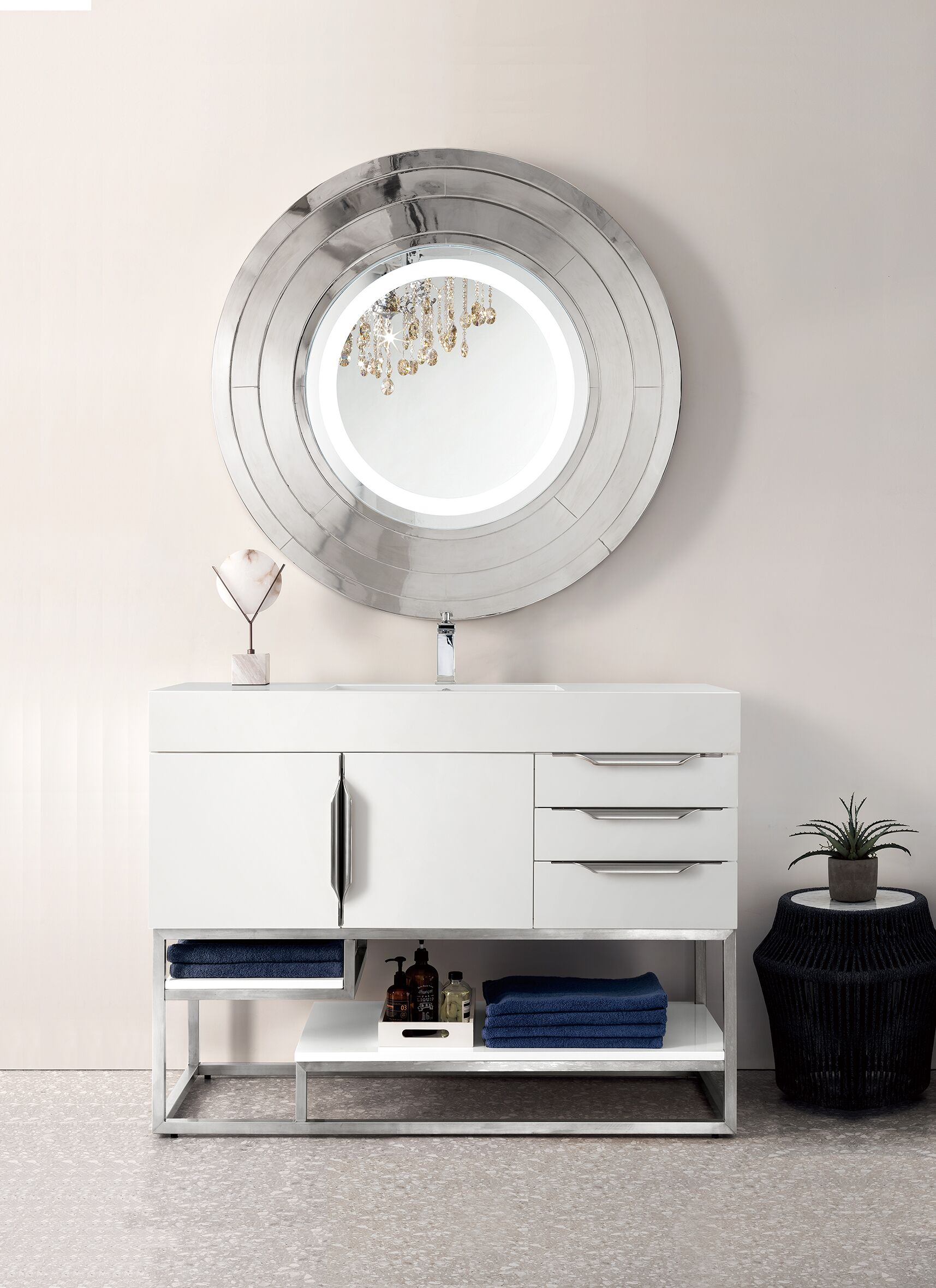 """James Martin Columbia Collection 48"""" Single Vanity, Glossy White Finish"""
