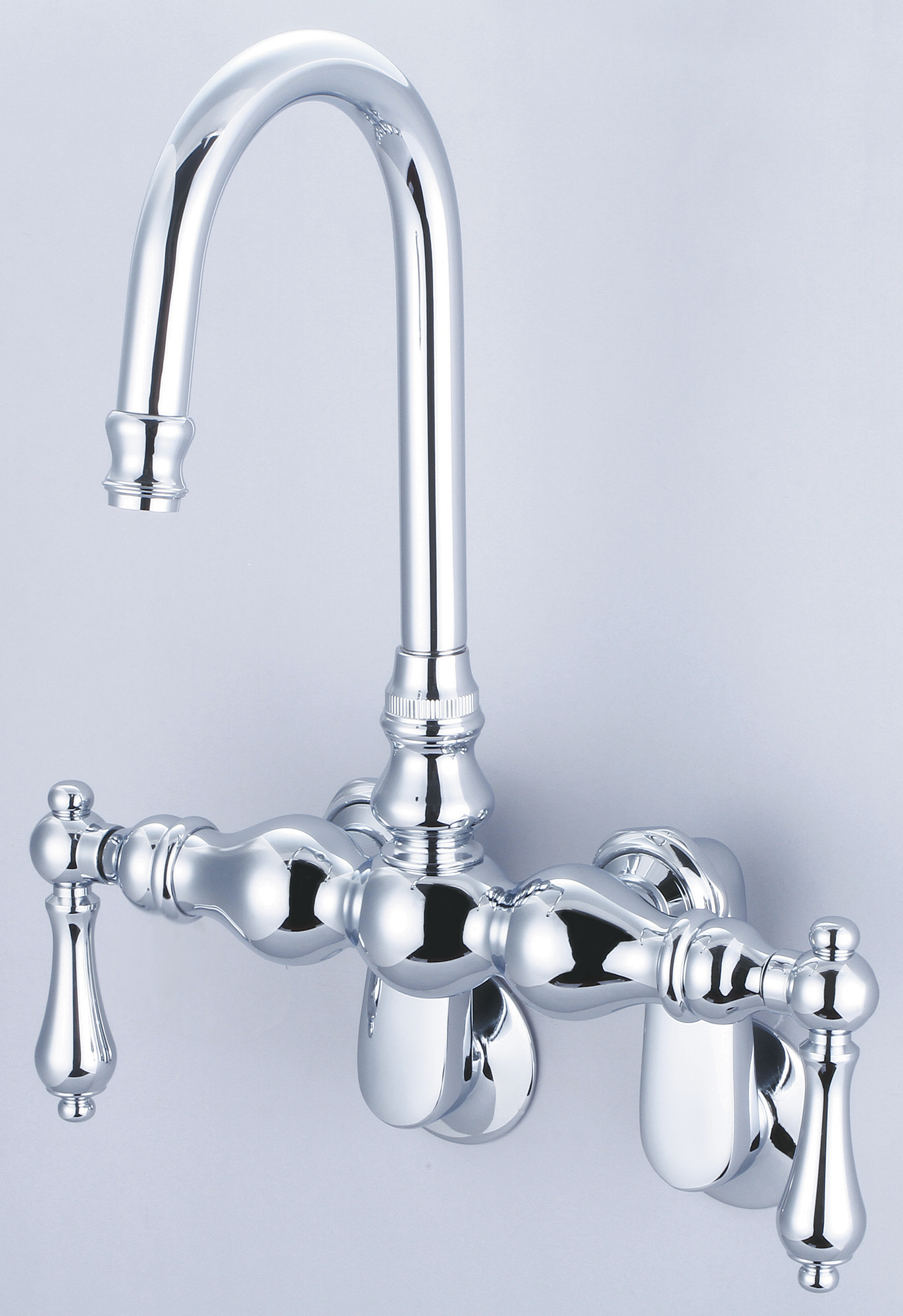 Vintage Classic Adjustable Spread Wall Mount Tub Faucet With Gooseneck Spout & Swivel Wall Connector in Chrome Finish With Metal Lever Handles Without Labels