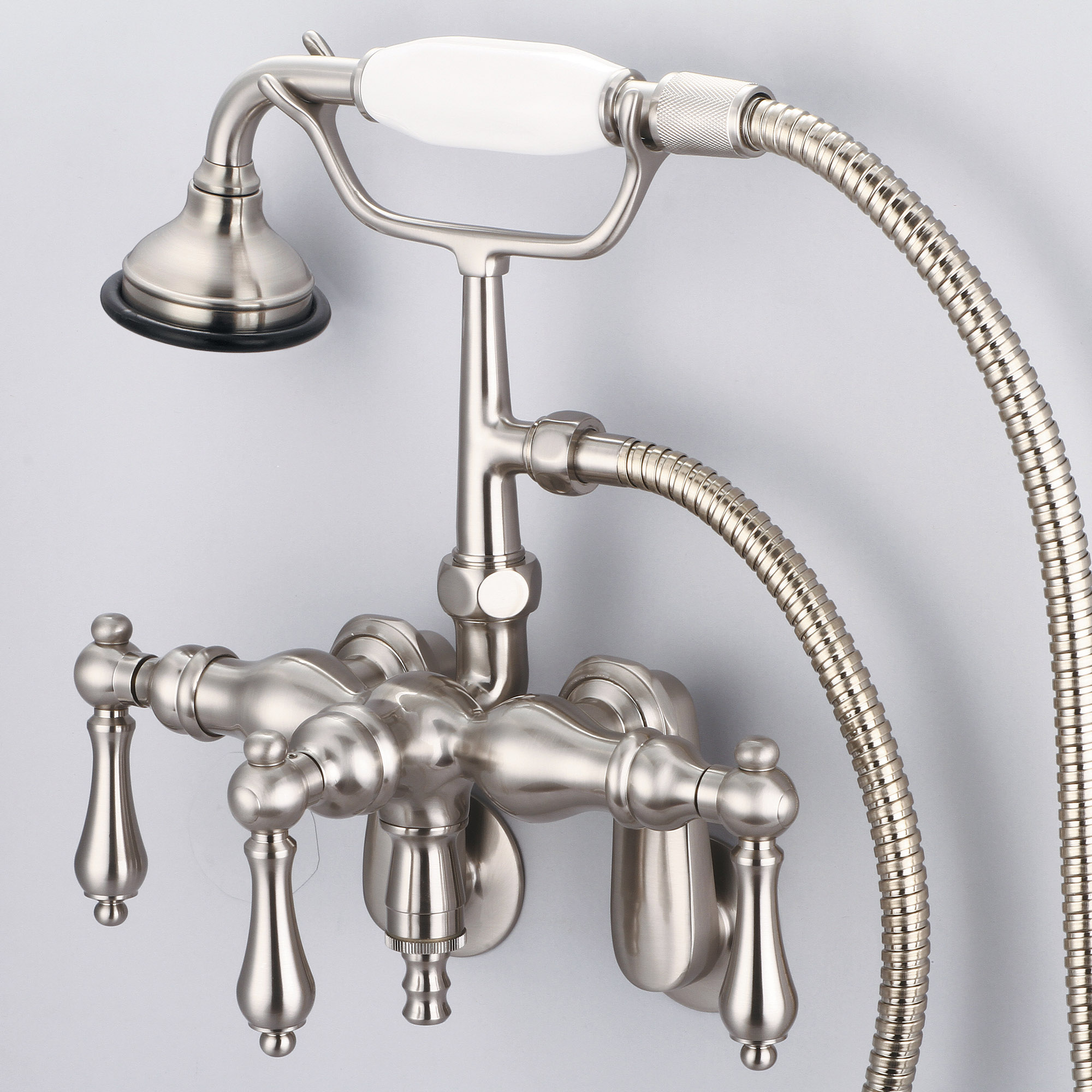 Vintage Classic Adjustable Center Wall Mount Tub Faucet With Down Spout, Swivel Wall Connector & Handheld Shower in Brushed Nickel Finish With Metal Lever Handles Without Labels