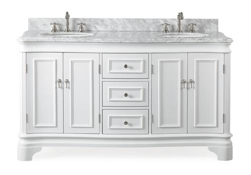 "60"" Double Sink White Bathroom Vanity with Italian Carrara White Marble Counter Top"