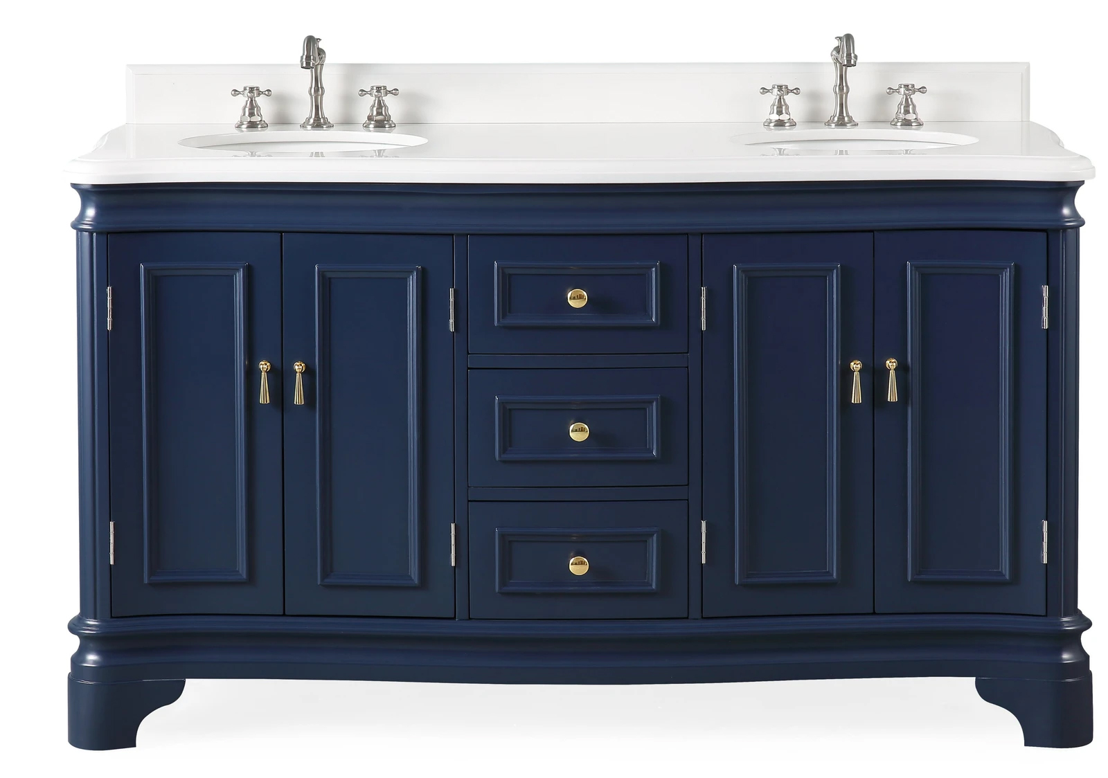 "60"" Double Sink Navy Blue Bathroom Vanity with White Quartz Counter Top"