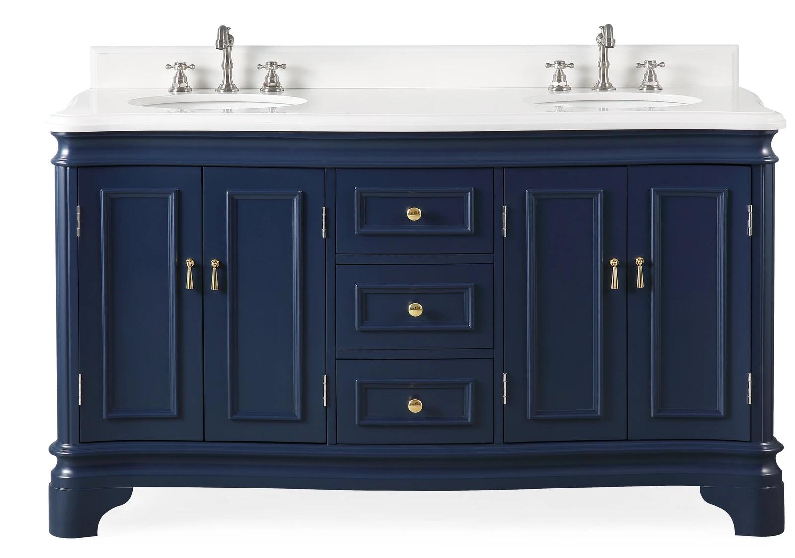 "60"" Double Sink Navy Blue Bathroom Vanity with White Quartz Counter Top"