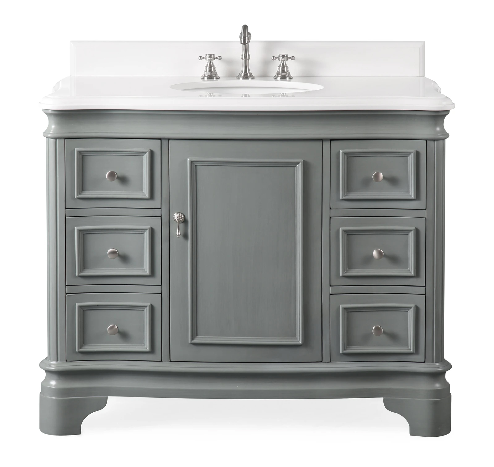 "42"" Modern Style Grey Bathroom Vanity Sink with White Quartz Counter Top"