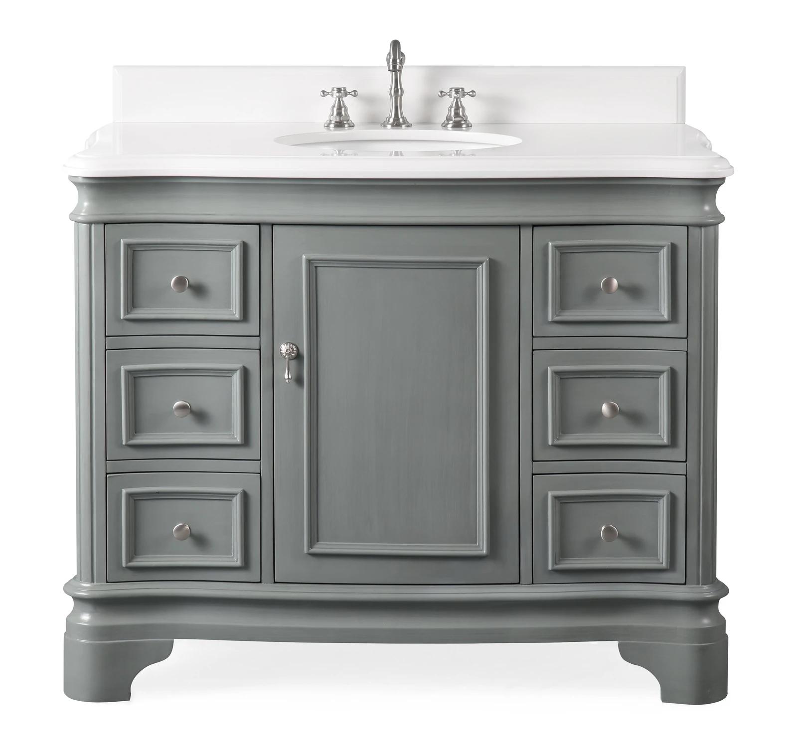 "42"" Modern Style Grey Bathroom Vanity Sink with White Quartz Counter Top"