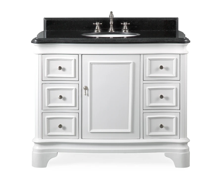 "42"" Modern Style White Bathroom Vanity Sink with Black Galaxy Granite Counter Top"