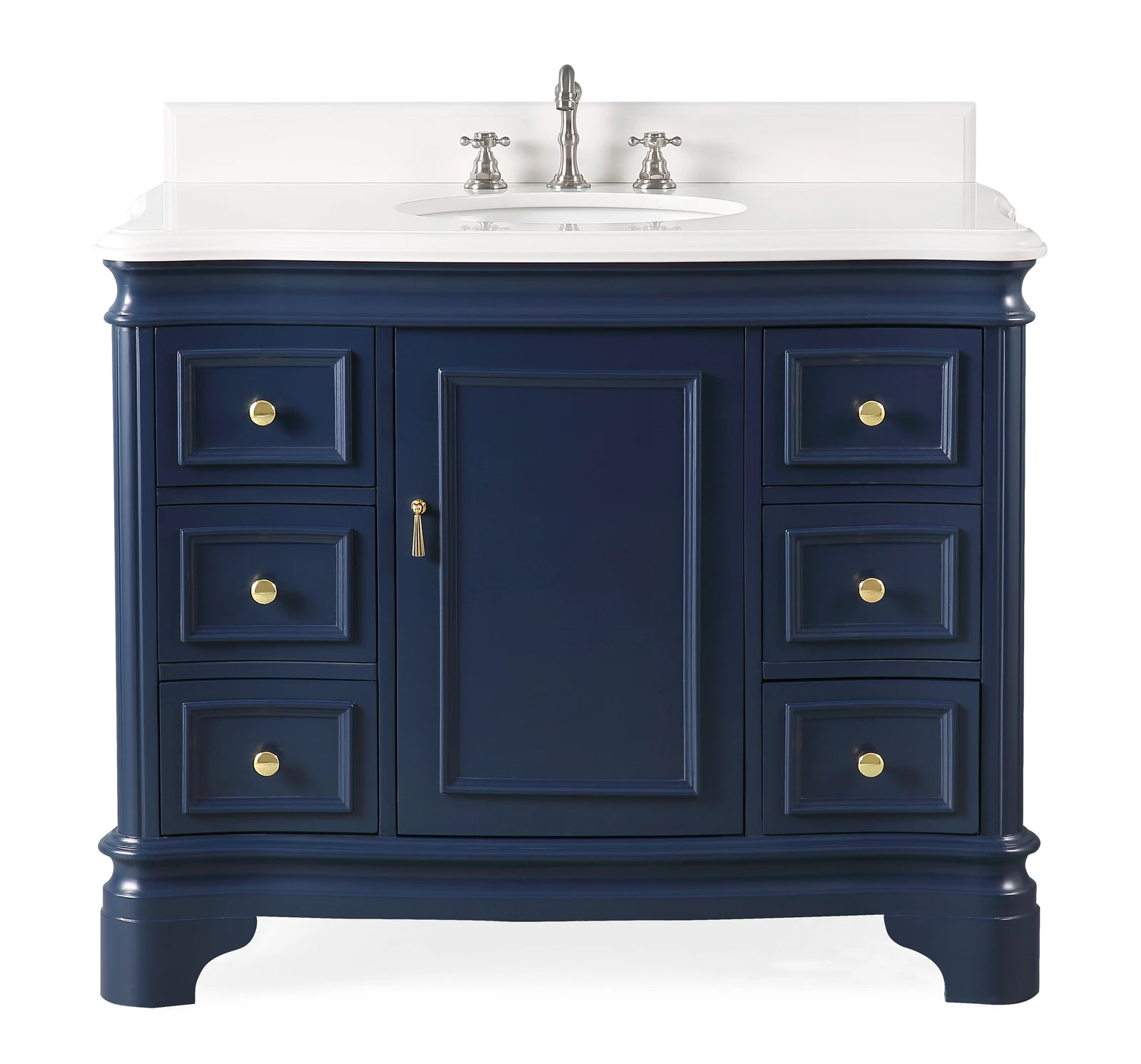 "42"" Modern Style Navy Blue Bathroom Vanity Sink with White Quartz Counter Top"