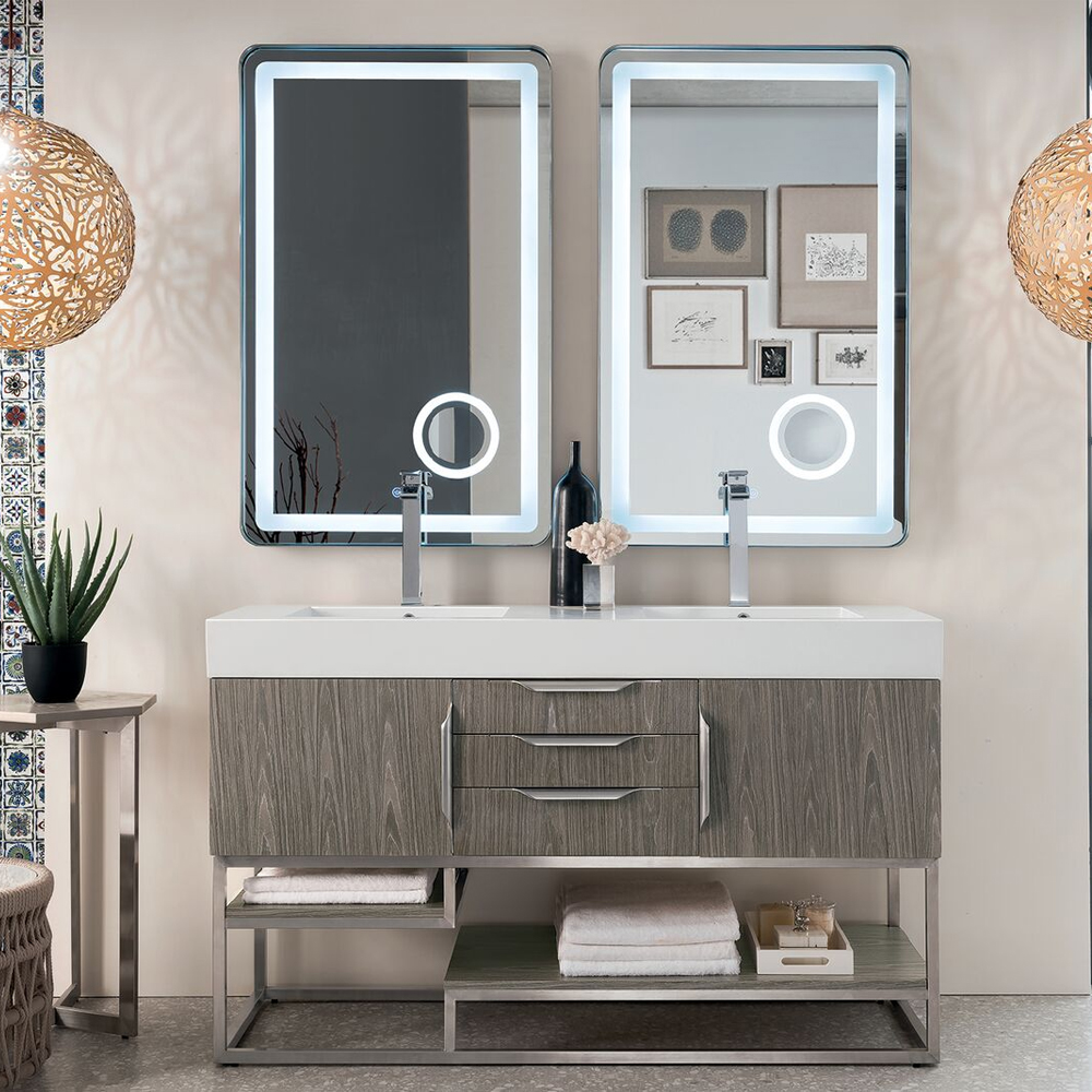 "James Martin Columbia Collection 59"" Double Vanity, Ash Gray Finish"