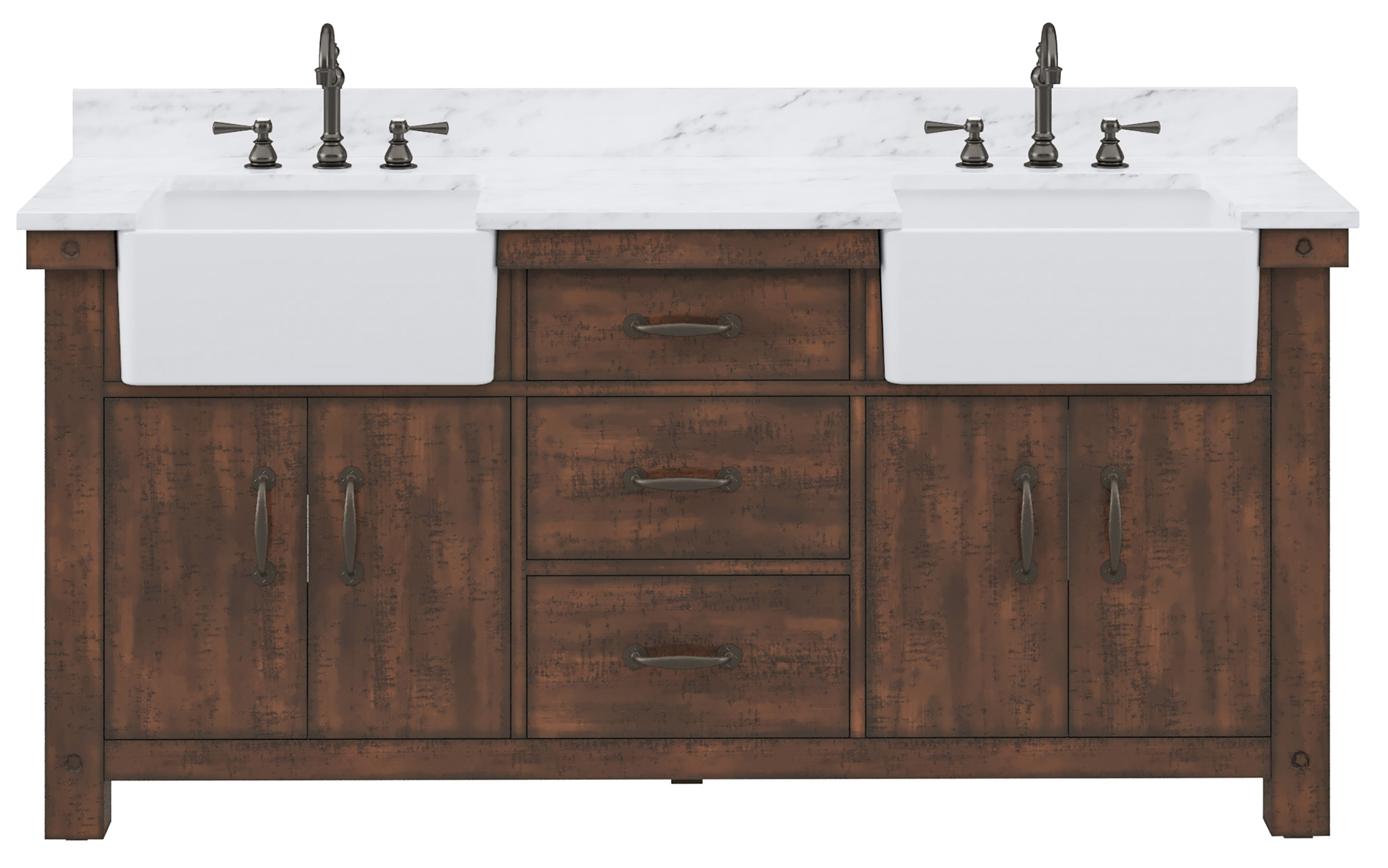 "72"" Double Sink Carrara White Marble Countertop Vanity in Rustic Sienna with Mirror and Faucet Options"