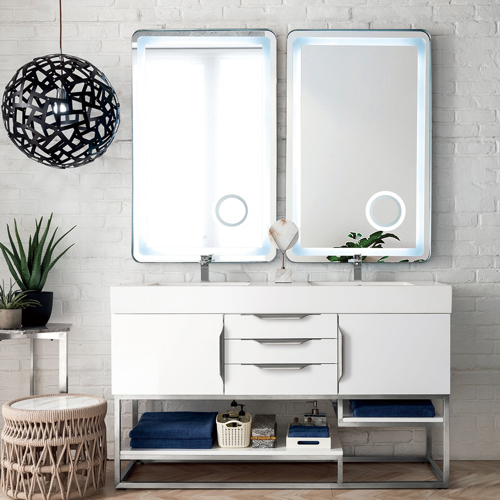 """James Martin Columbia Collection 59"""" Double Vanity, Glossy White Finish"""