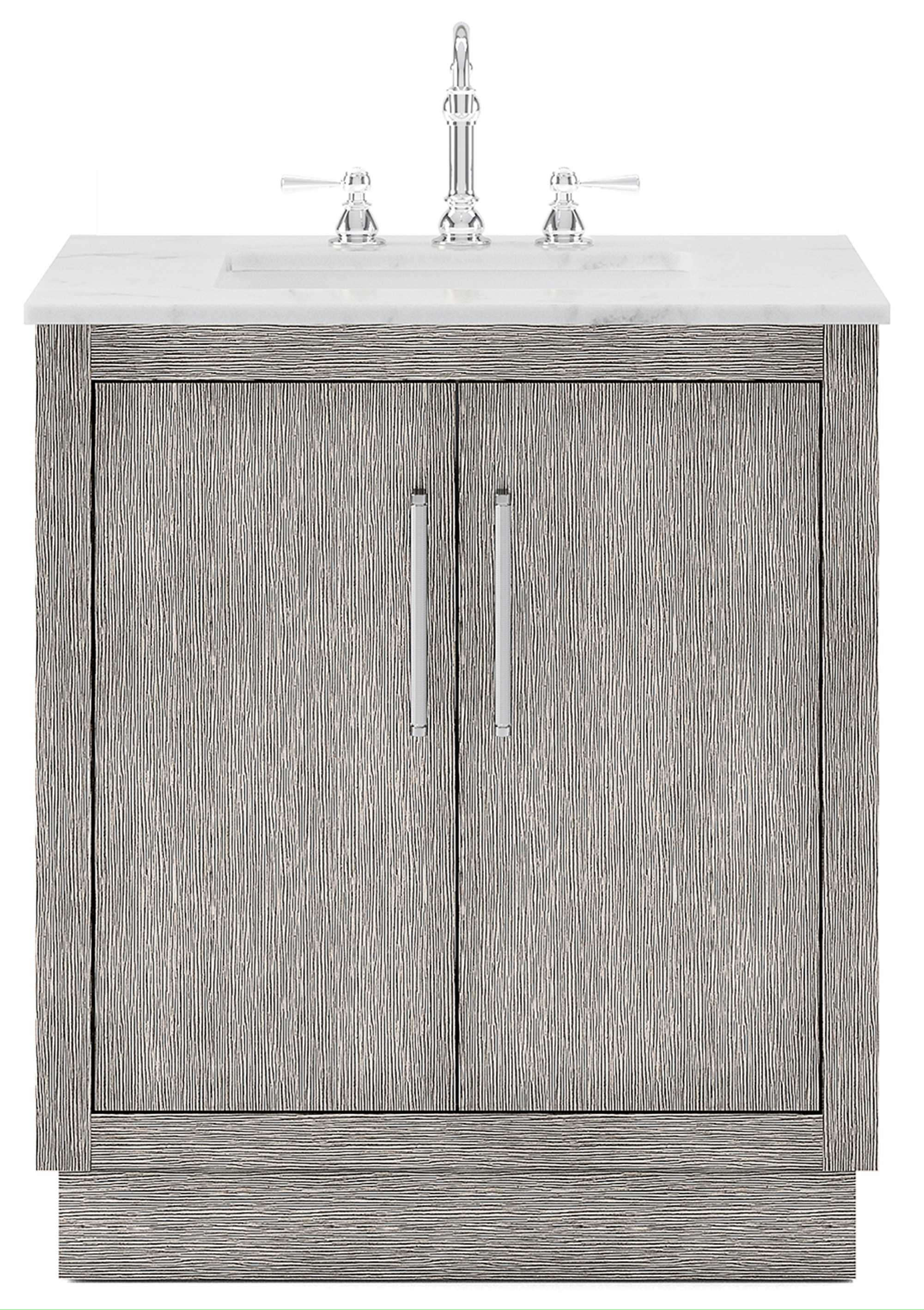 "30"" Single Sink Carrara White Marble Countertop Vanity in Grey Oak with Mirror and Faucet Options"