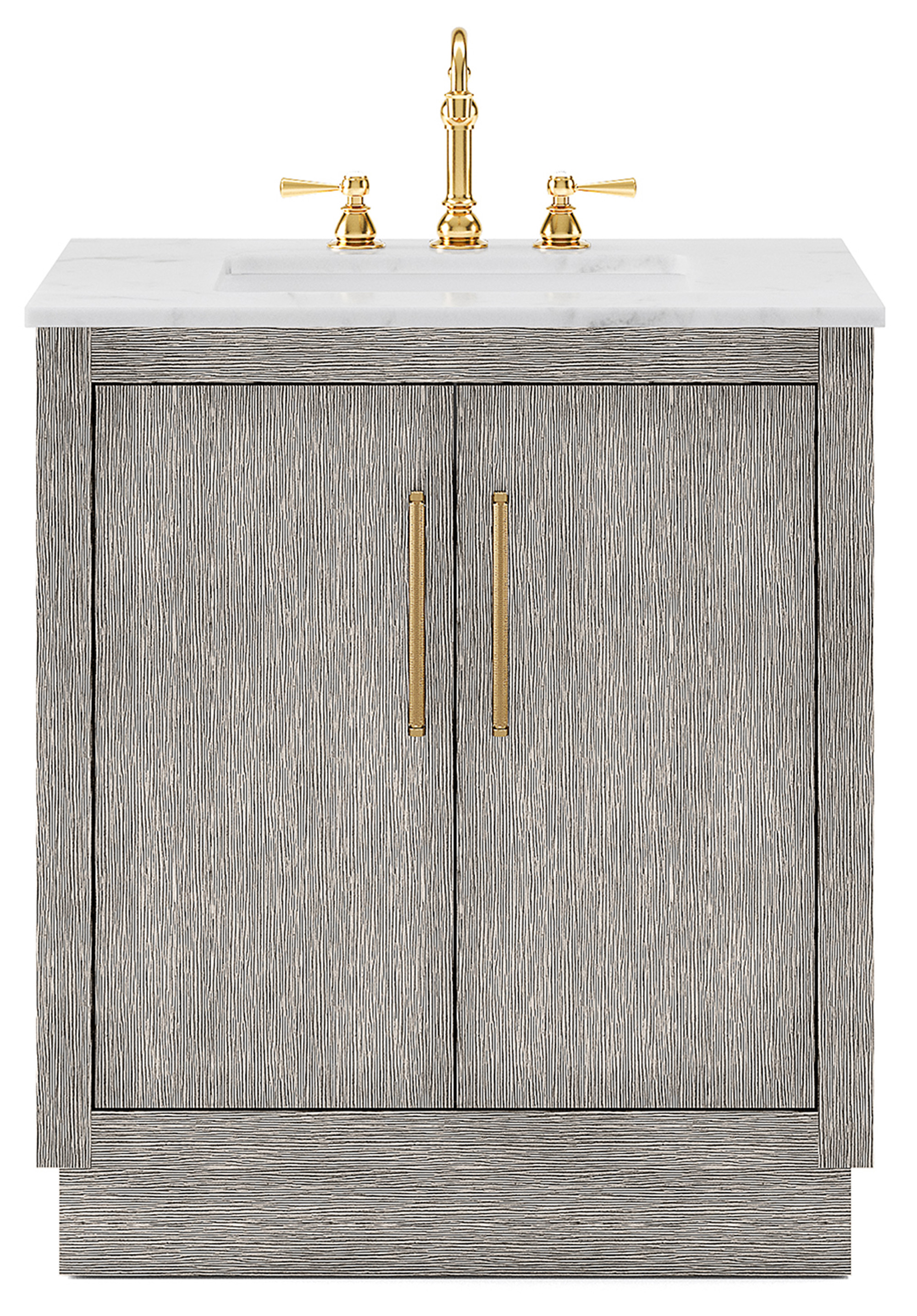 "30"" Single Sink Carrara White Marble Countertop Vanity in Grey Oak with Faucet and Mirror Options"