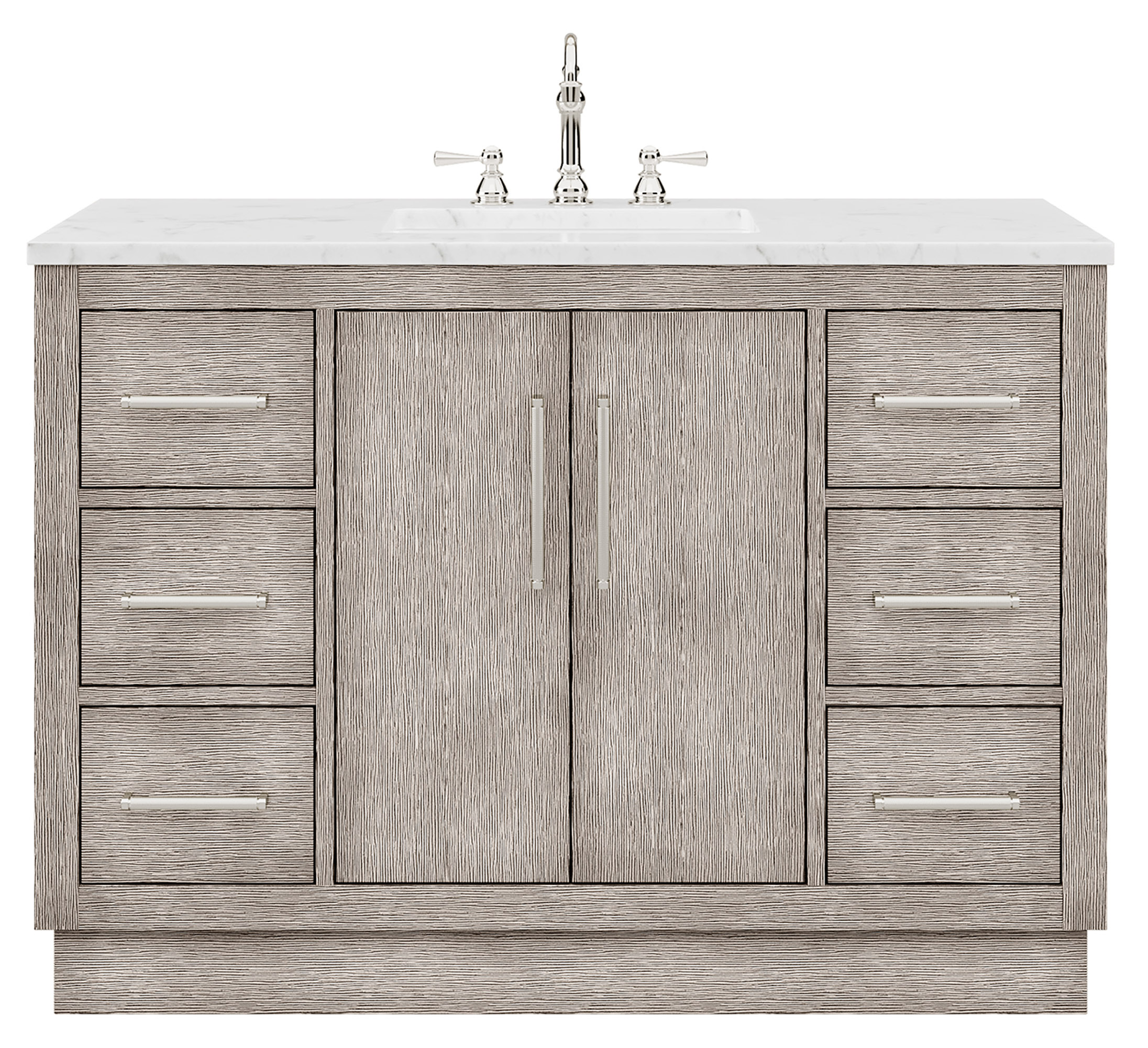 "48"" Single Sink Carrara White Marble Countertop Vanity in Grey Oak with Mirror and Faucet Options"