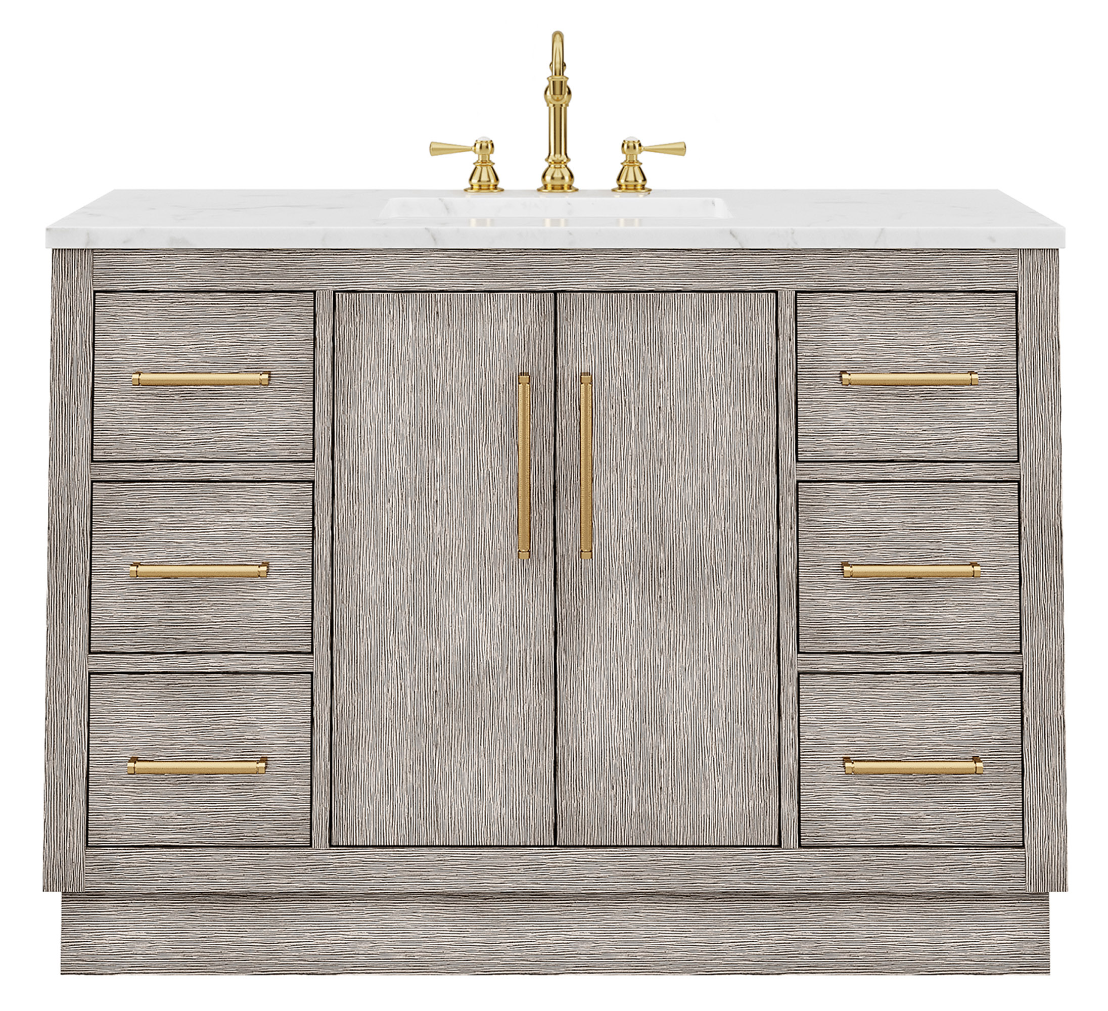 "48"" Single Sink Carrara White Marble Countertop Vanity in Grey Oak with Faucet and Mirror Options"