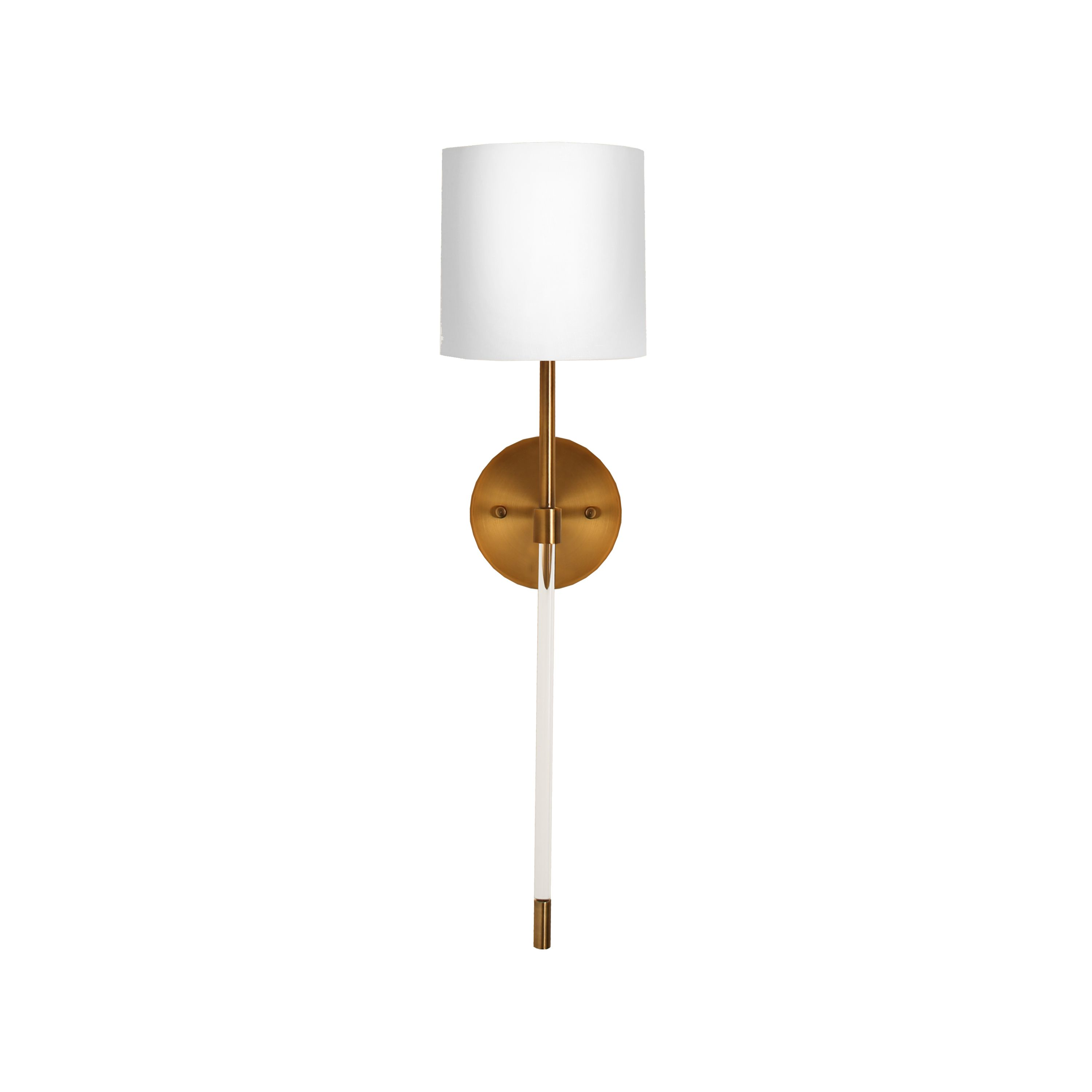 Acrylic Sconce with White Linen Shade in Antique Brass
