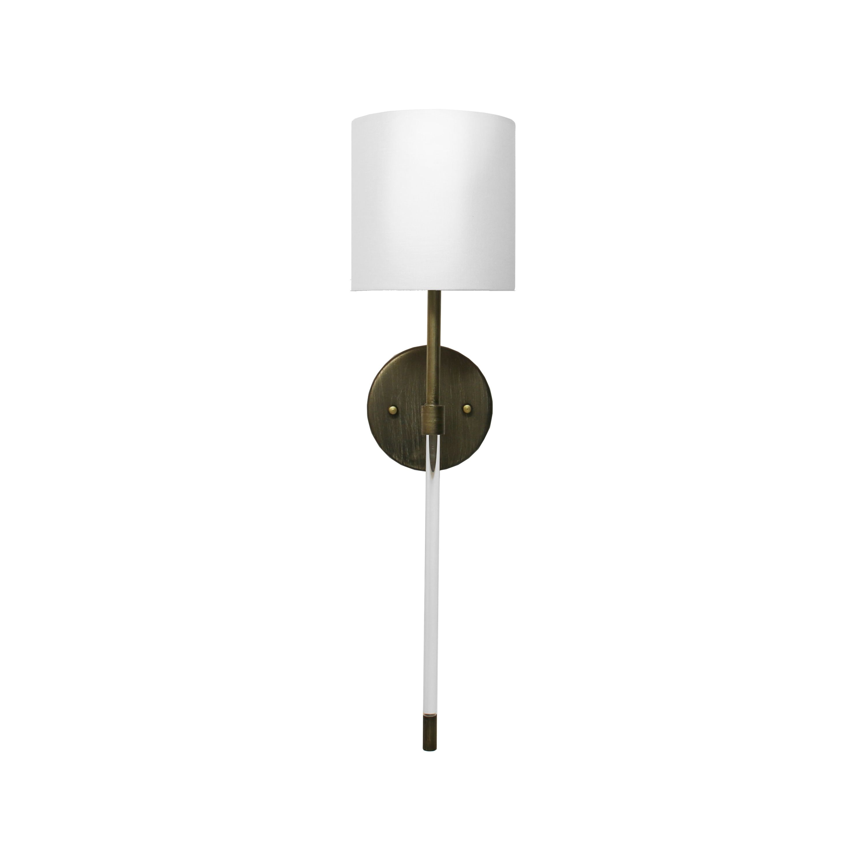 Acrylic Sconce with White Linen Shade in Bronze
