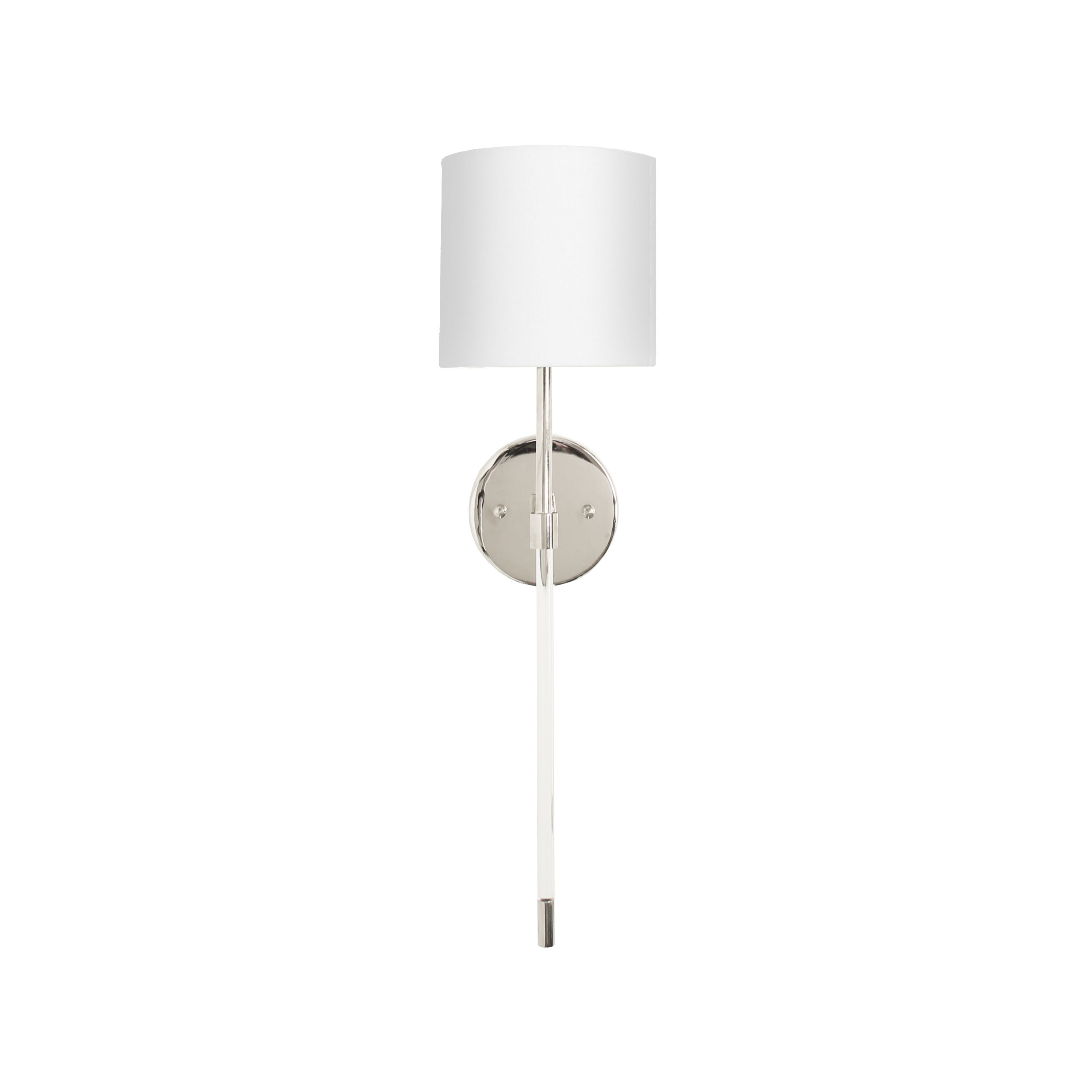 Acrylic Sconce with White Linen Shade in Nickel