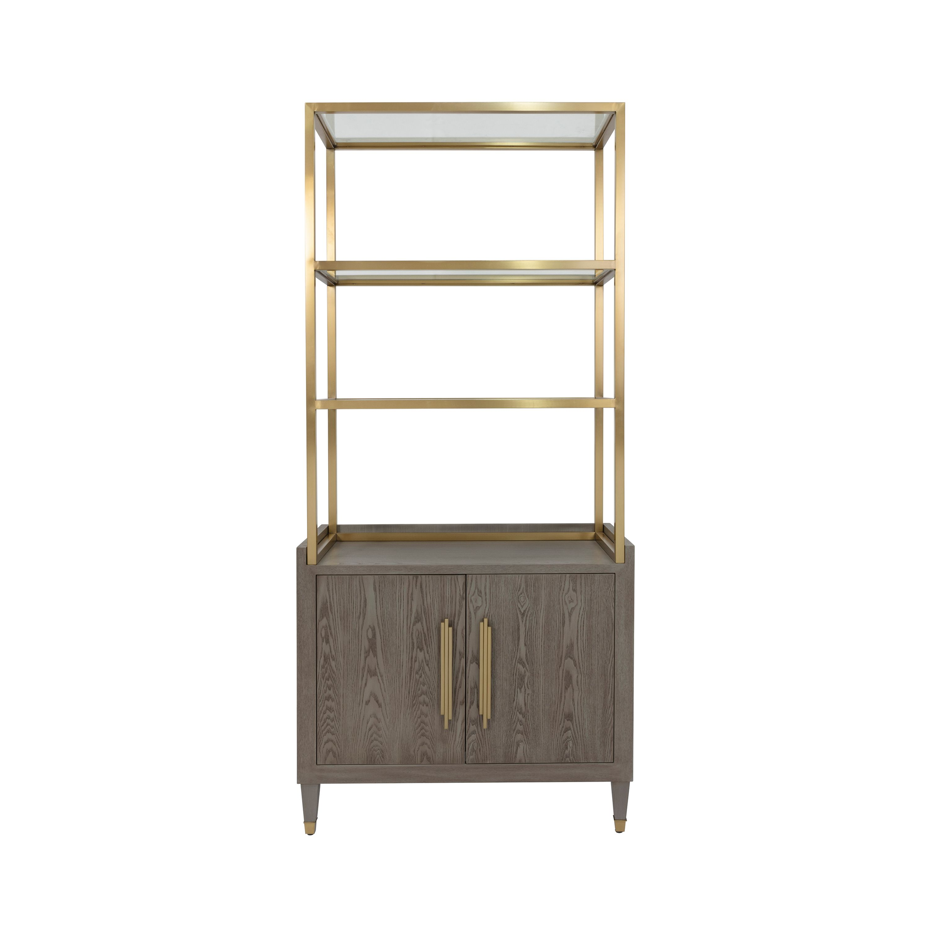Smoke Grey Etagere with Brushed Brass Frame & Glass Shelves