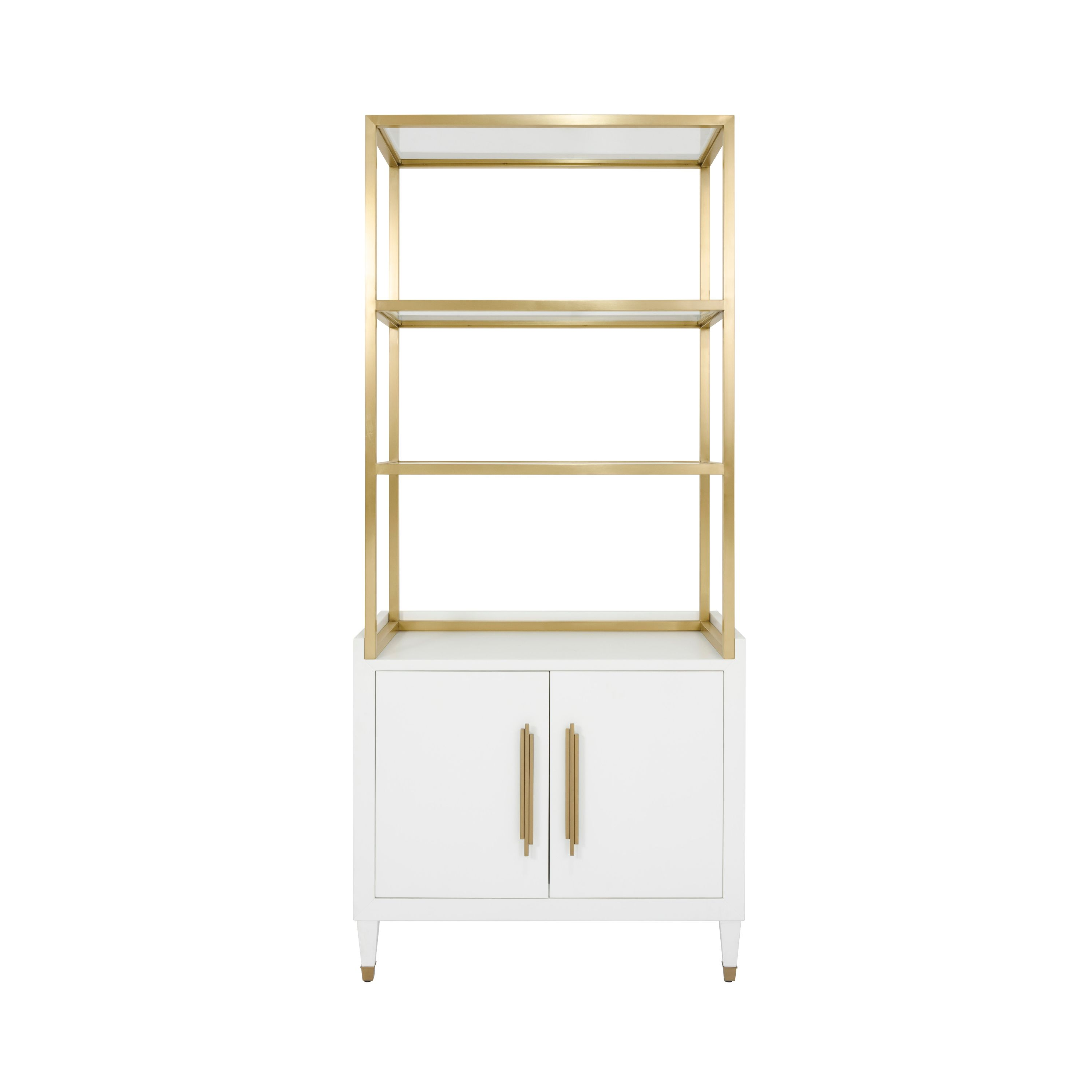 Matte White Etagere with Brushed Brass Frame & Glass Shelves