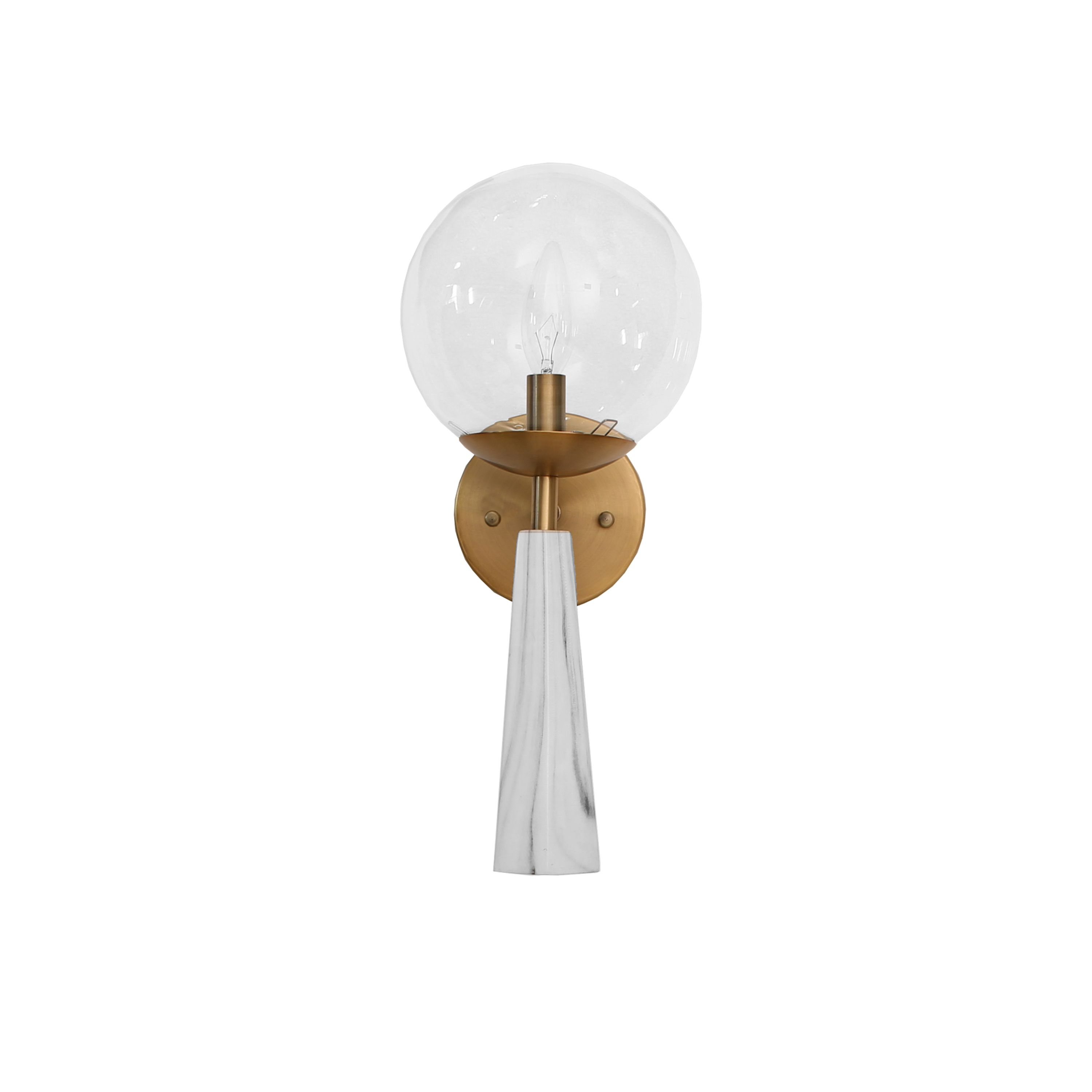 Faux Marble Sconce with Antique Brass and Clear Globe